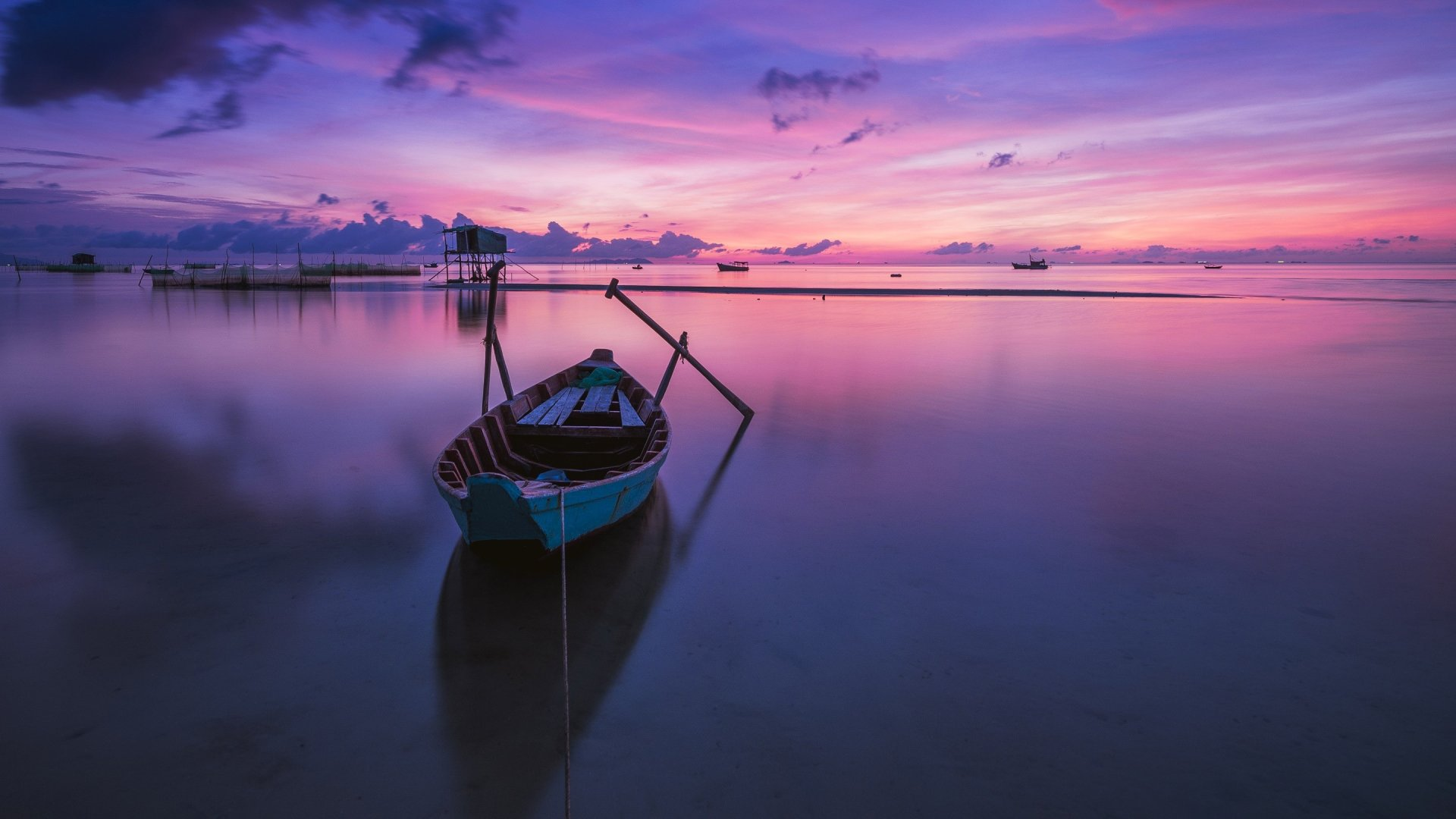 A Boat At Sunset Wallpaper Id2516
