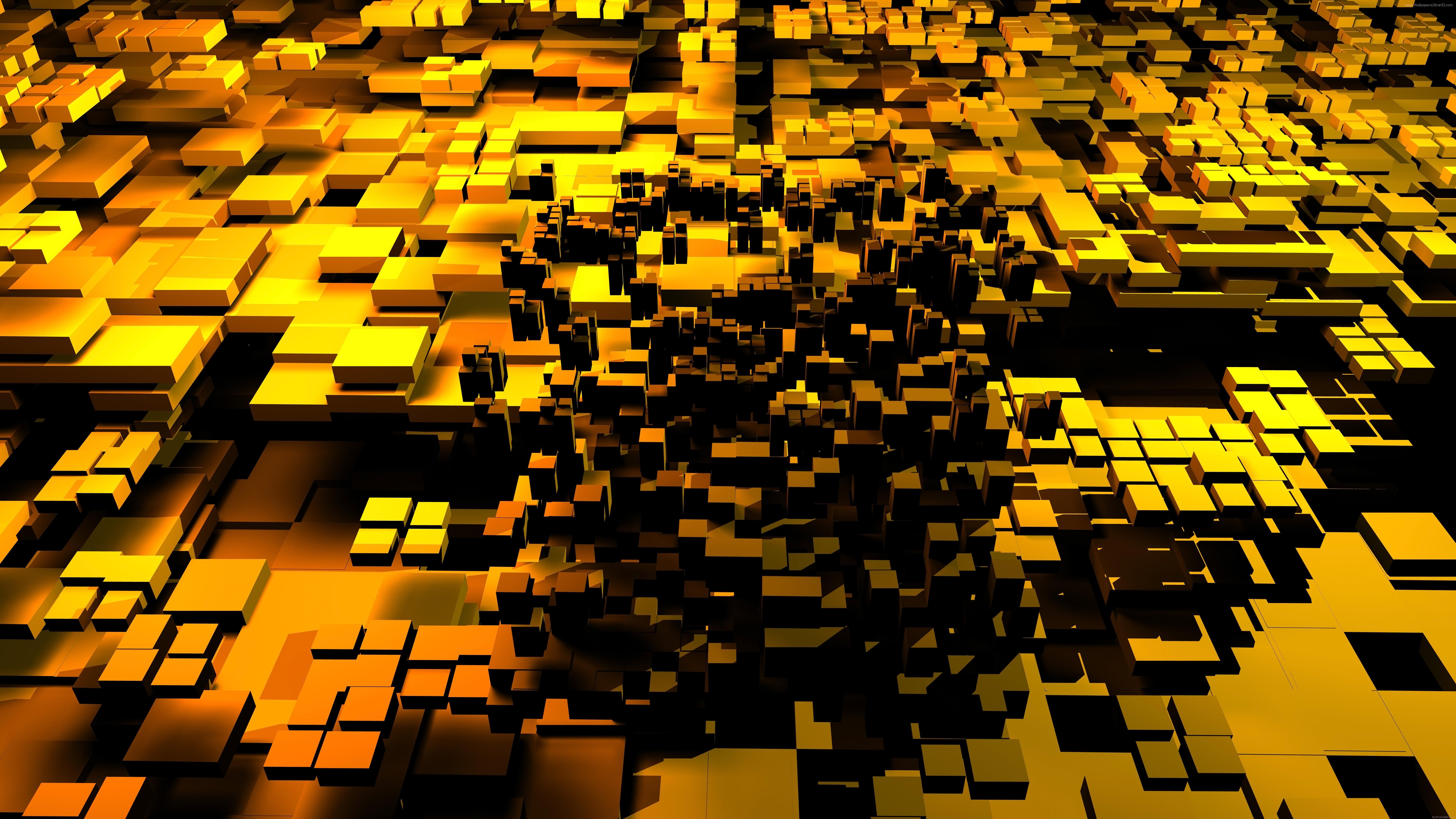 3d Golden Abstract Cubes Wallpaper 8k Ultra Hd Id3582