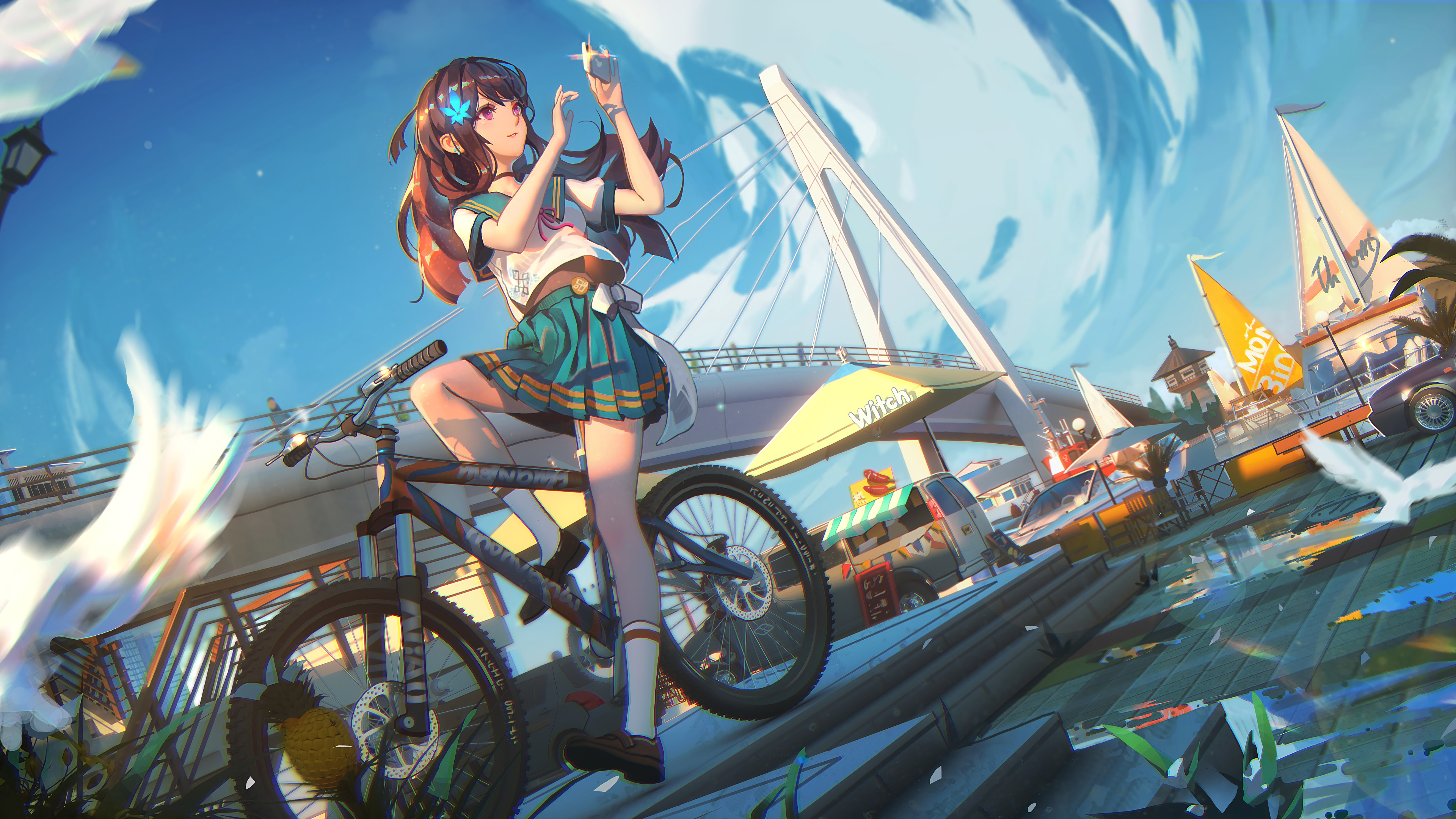 Anime Student Girl On A Bicycle Wallpaper 4k Ultra Hd Id3722