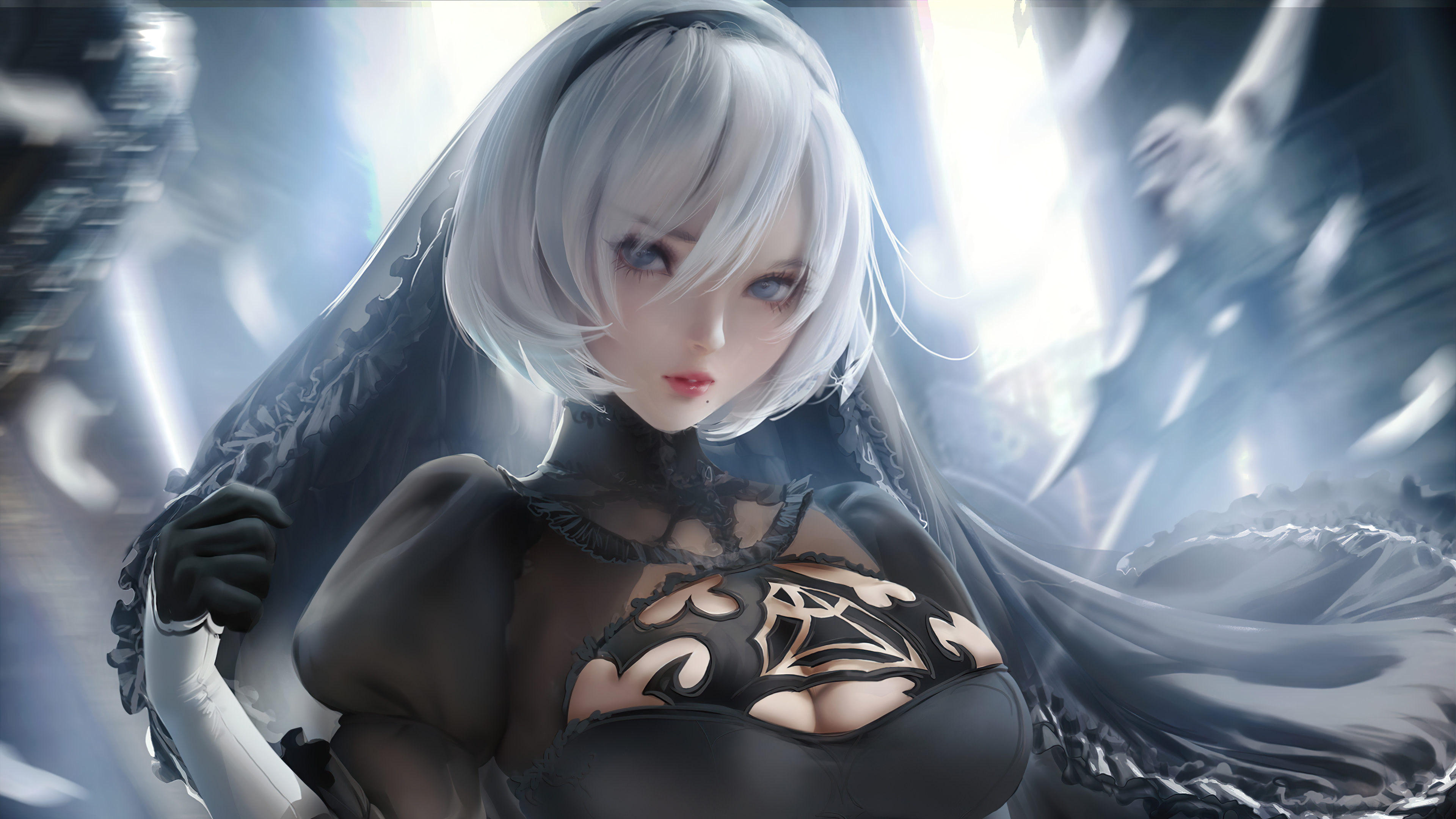 Anime Wallpaper 2B Nier Automata Black Dress