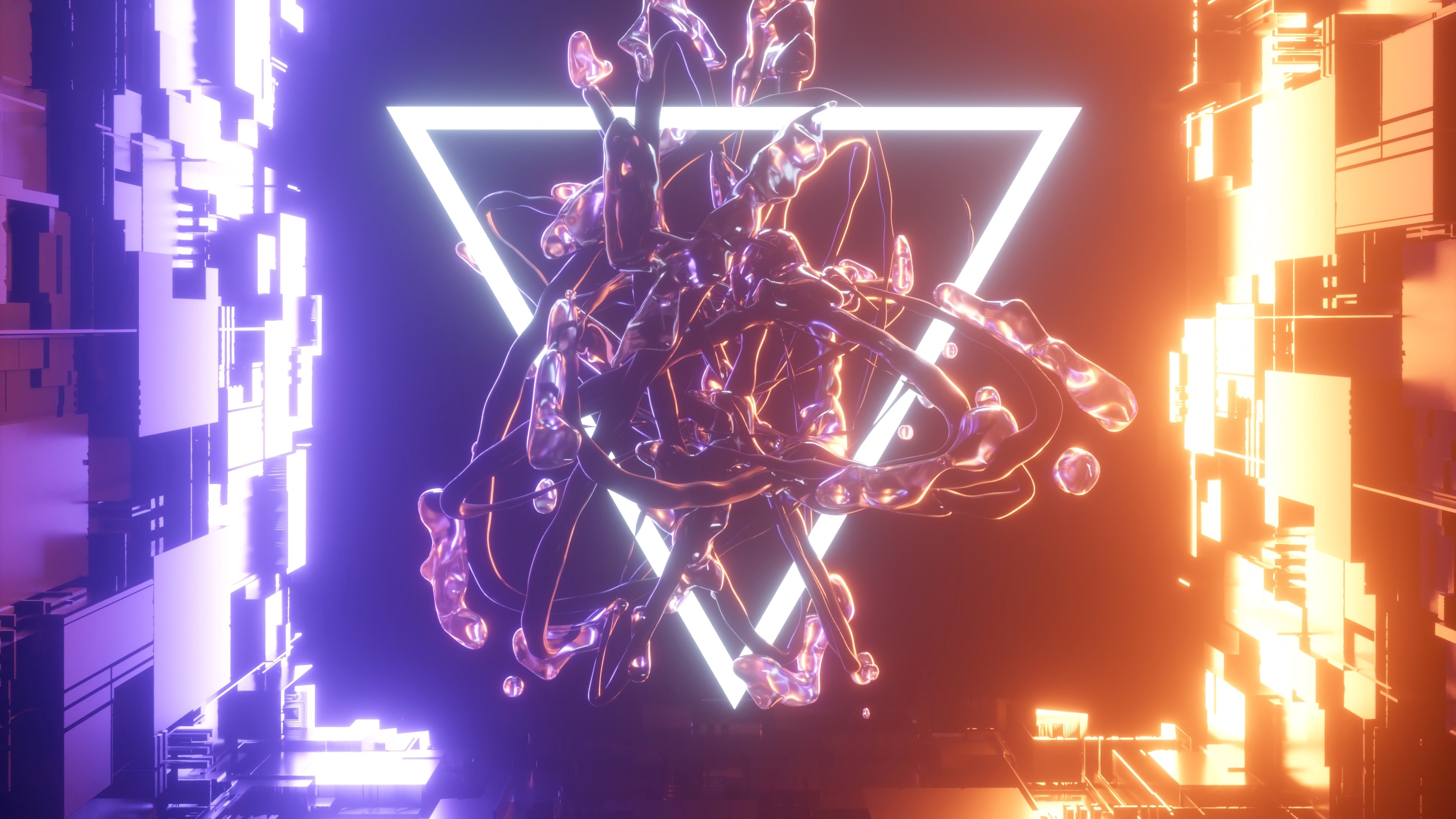 3d Abstract Neon Light Triangle Wallpaper 4k Ultra Hd Id 3466