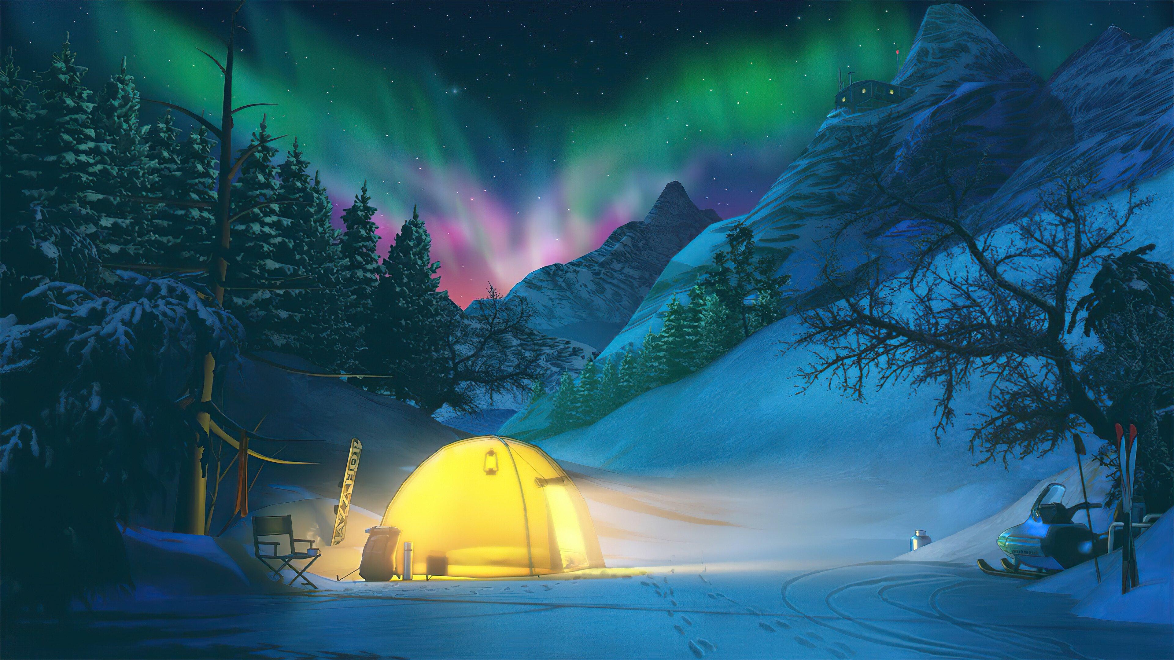 Fondos de pantalla Acampando durante el invierno con auroras polares de fondo