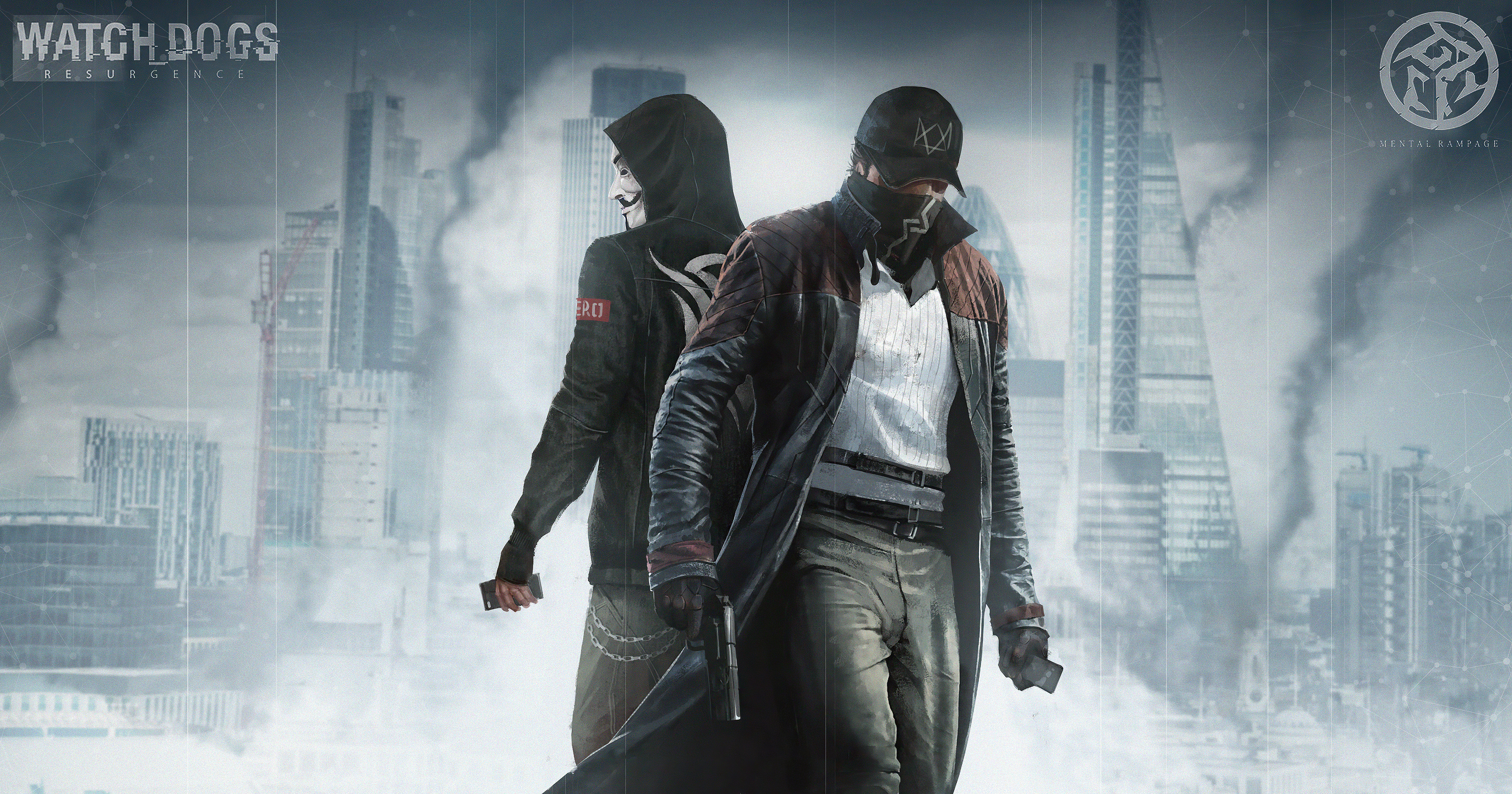 Wallpaper Aiden Pearce and The Anonymous Watch dogs  Resurgence