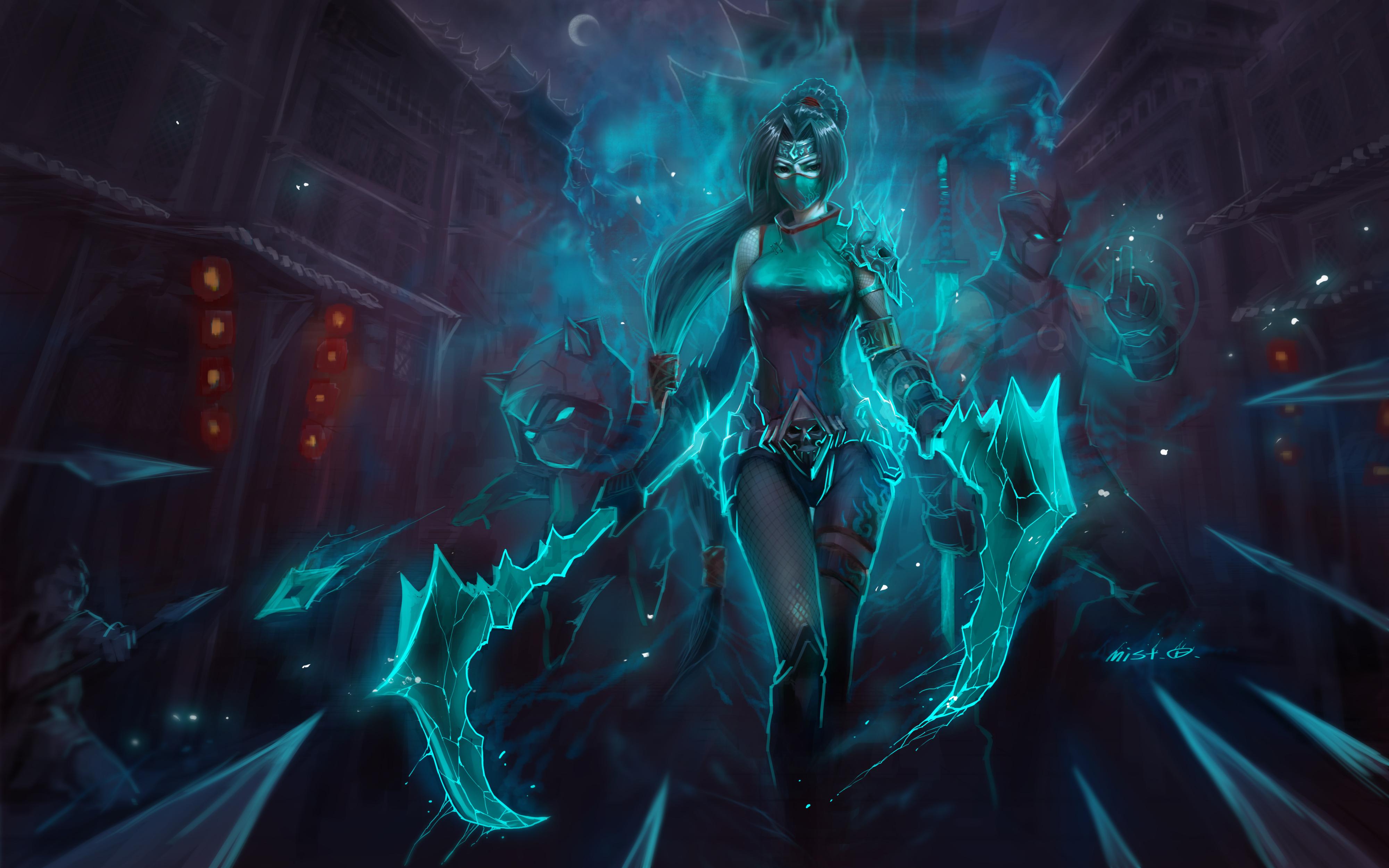 Wallpaper Akali, Kennen, Shen League Of Legends