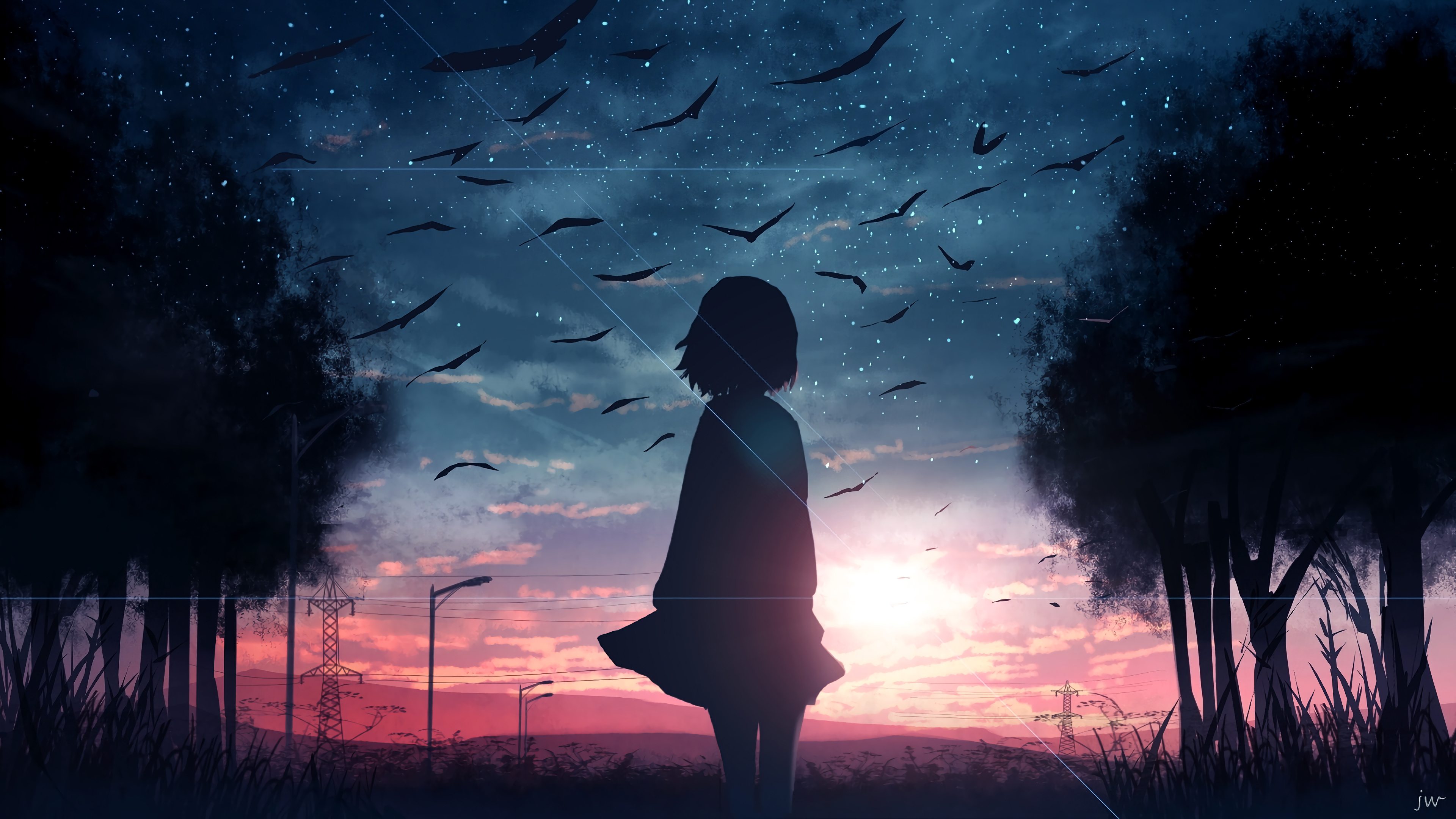 Wallpaper Sunrise Anime Girl Silhouette Scenery