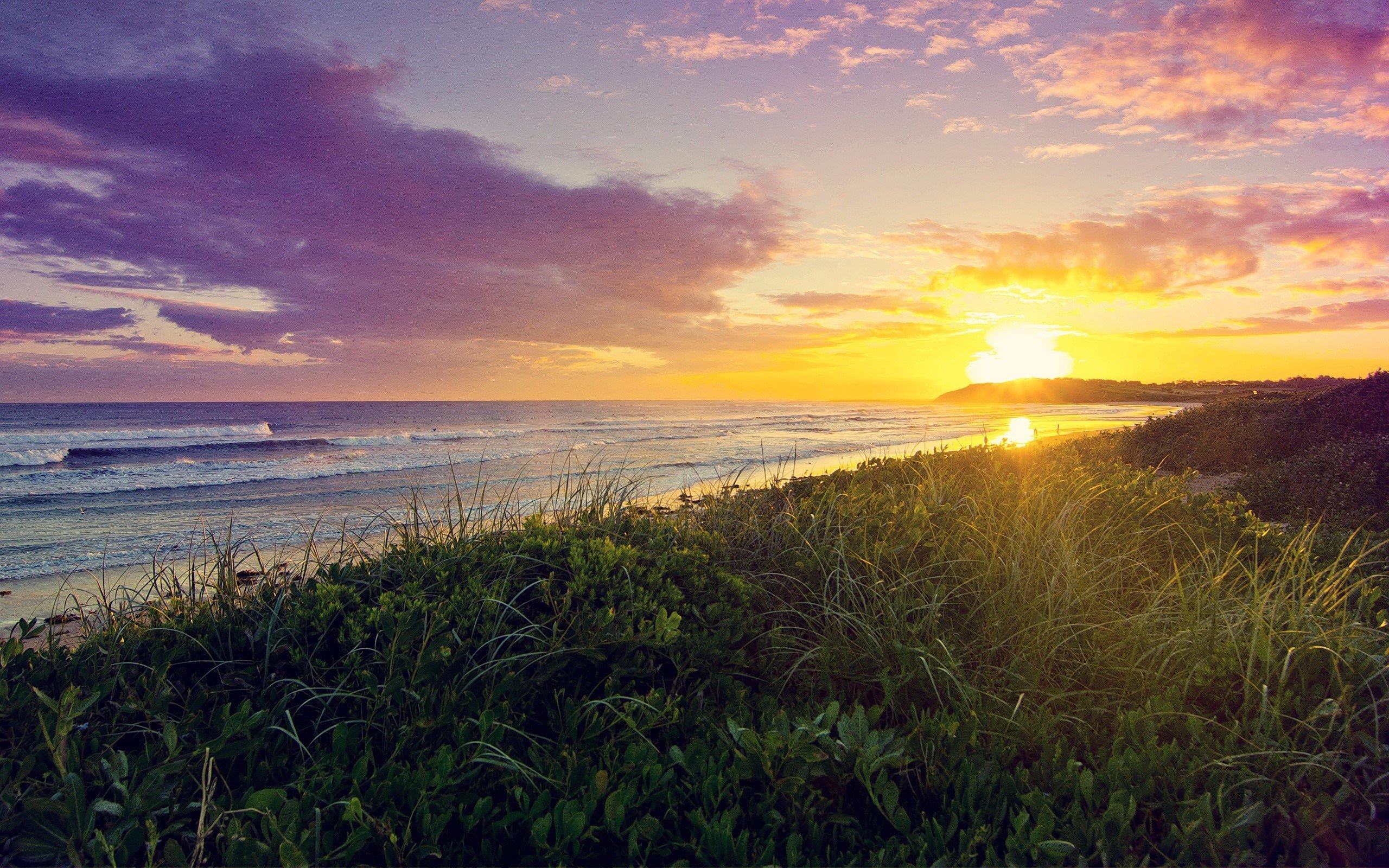 Fondo de pantalla de Amanecer en la playa Imágenes
