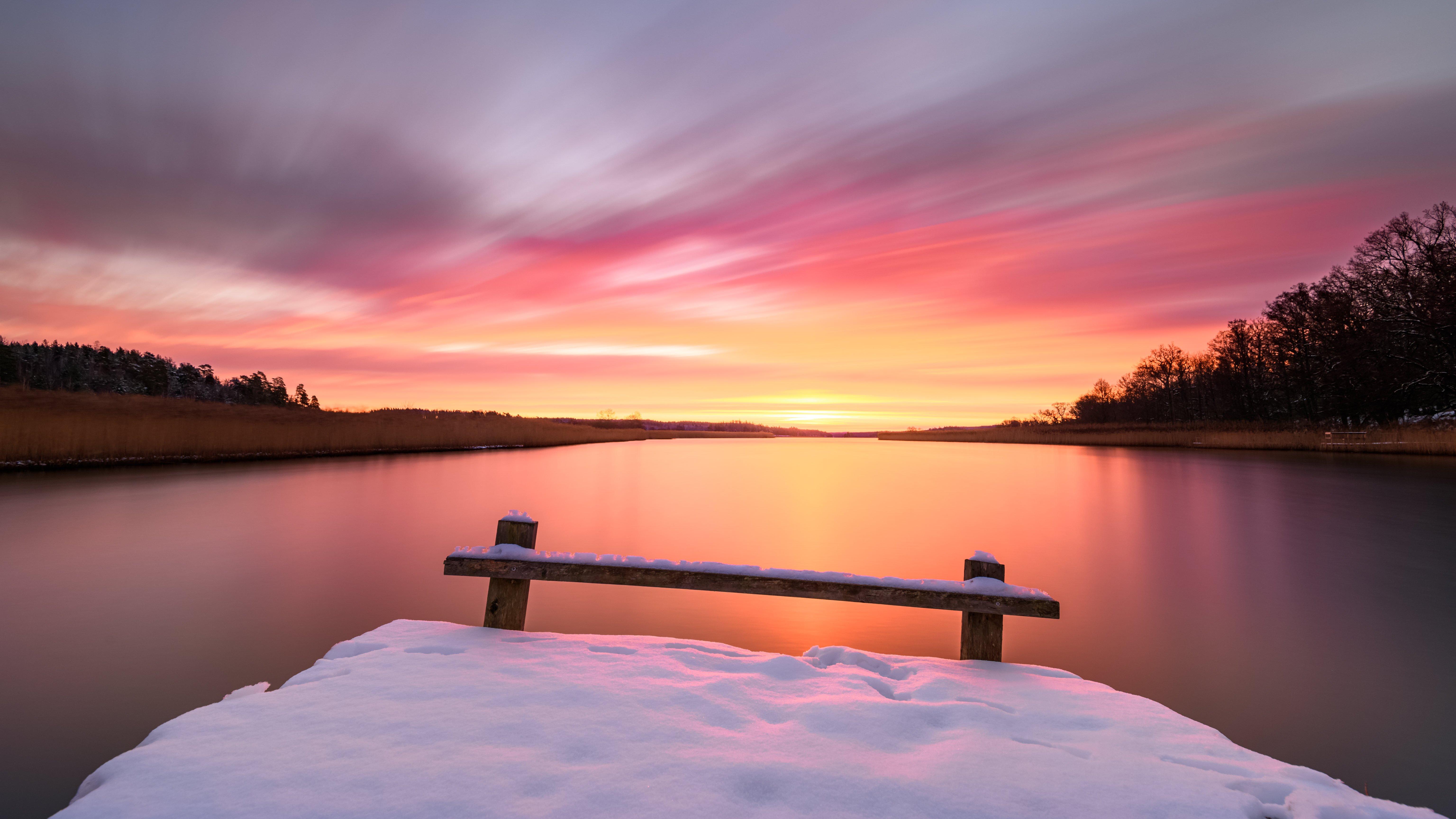 Fondos de pantalla Amanecer en lago con nieve