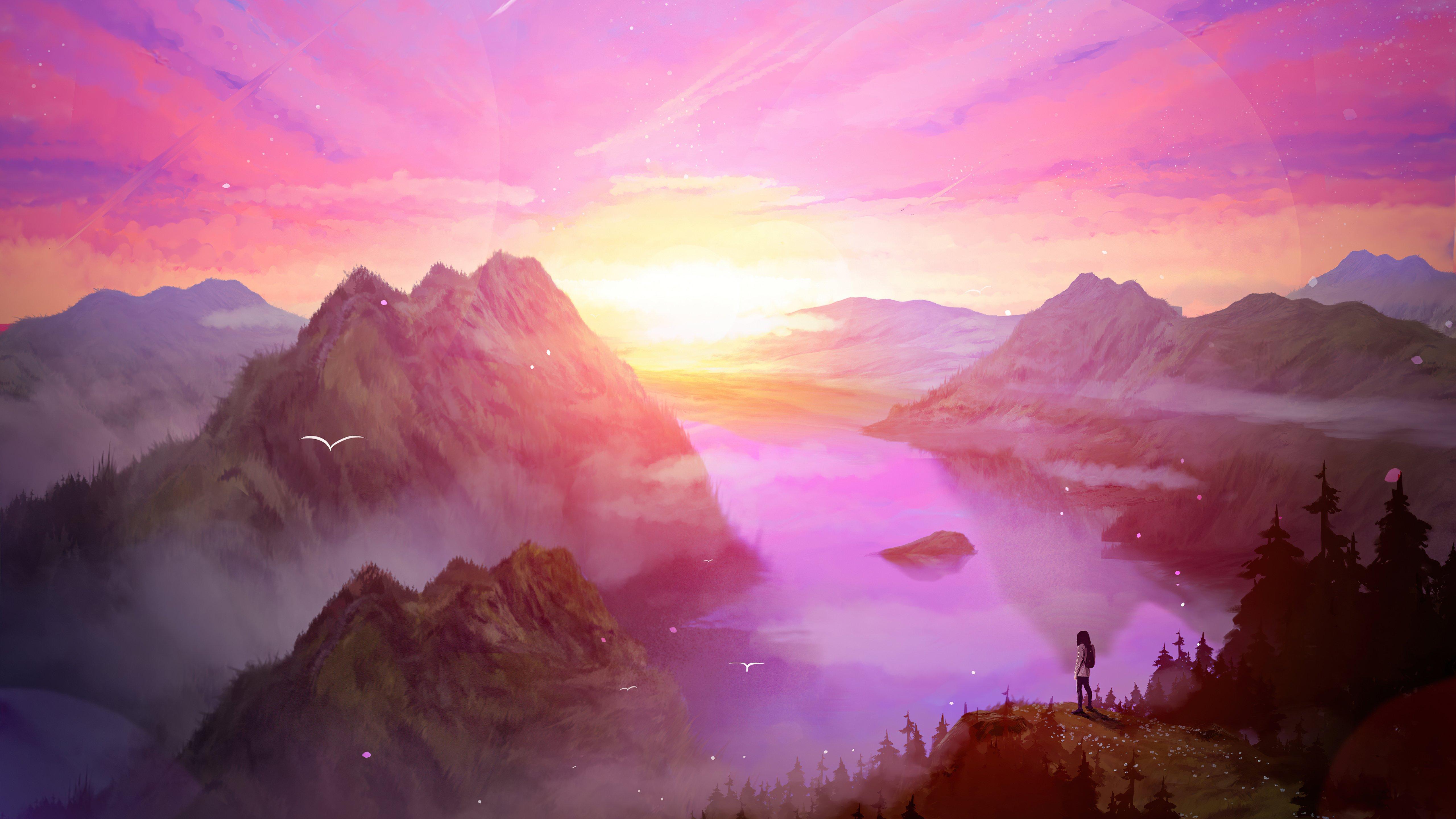 Fondos de pantalla Amanecer en las montañas Arte Digital