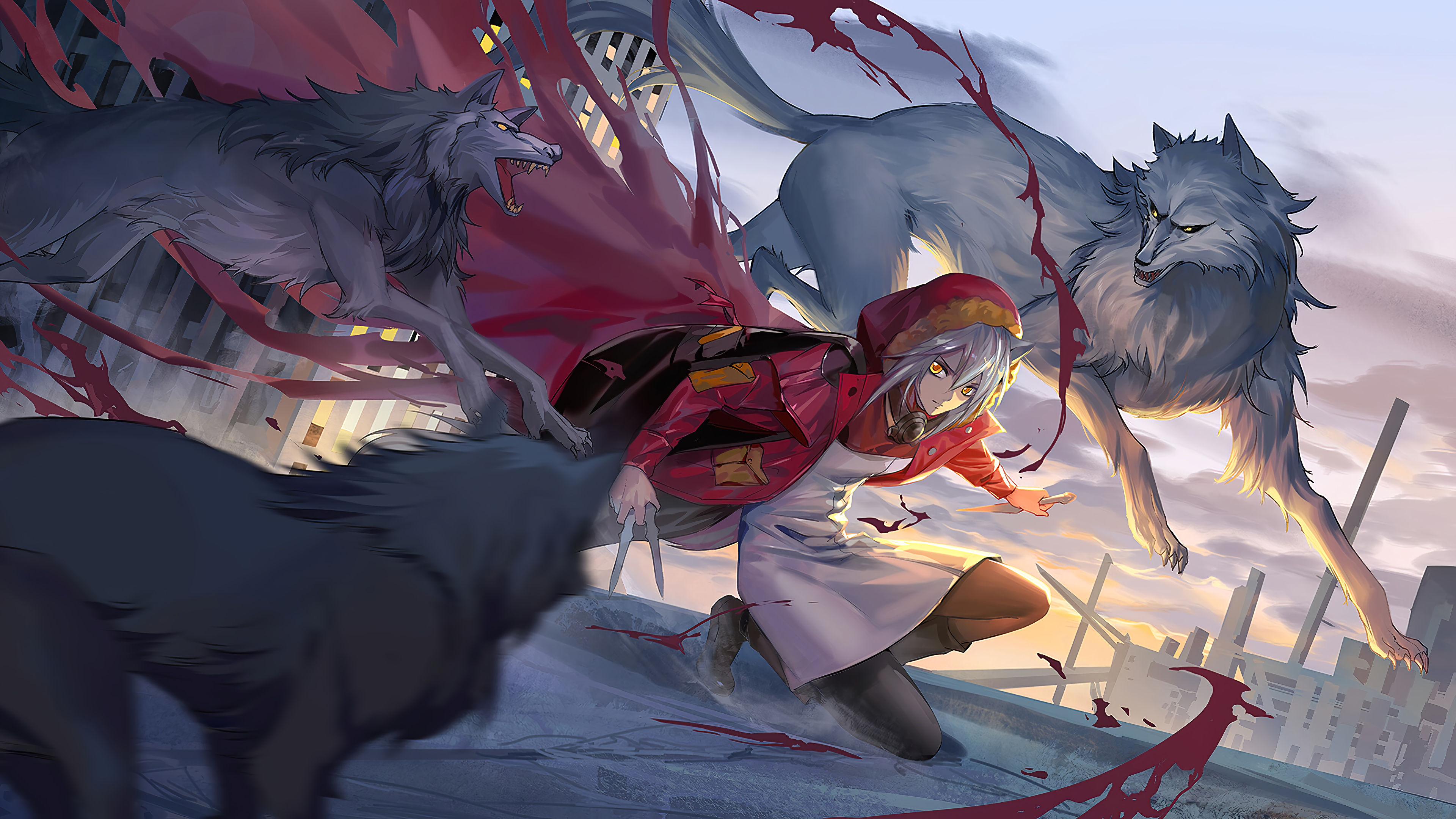 Anime Wallpaper Amiya with wolves Arknights