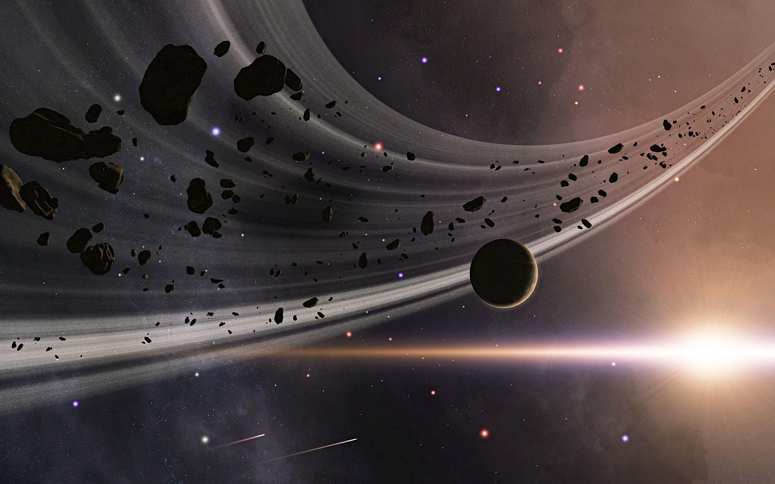 Fondos de pantalla Anillo de asteroides en el espacio