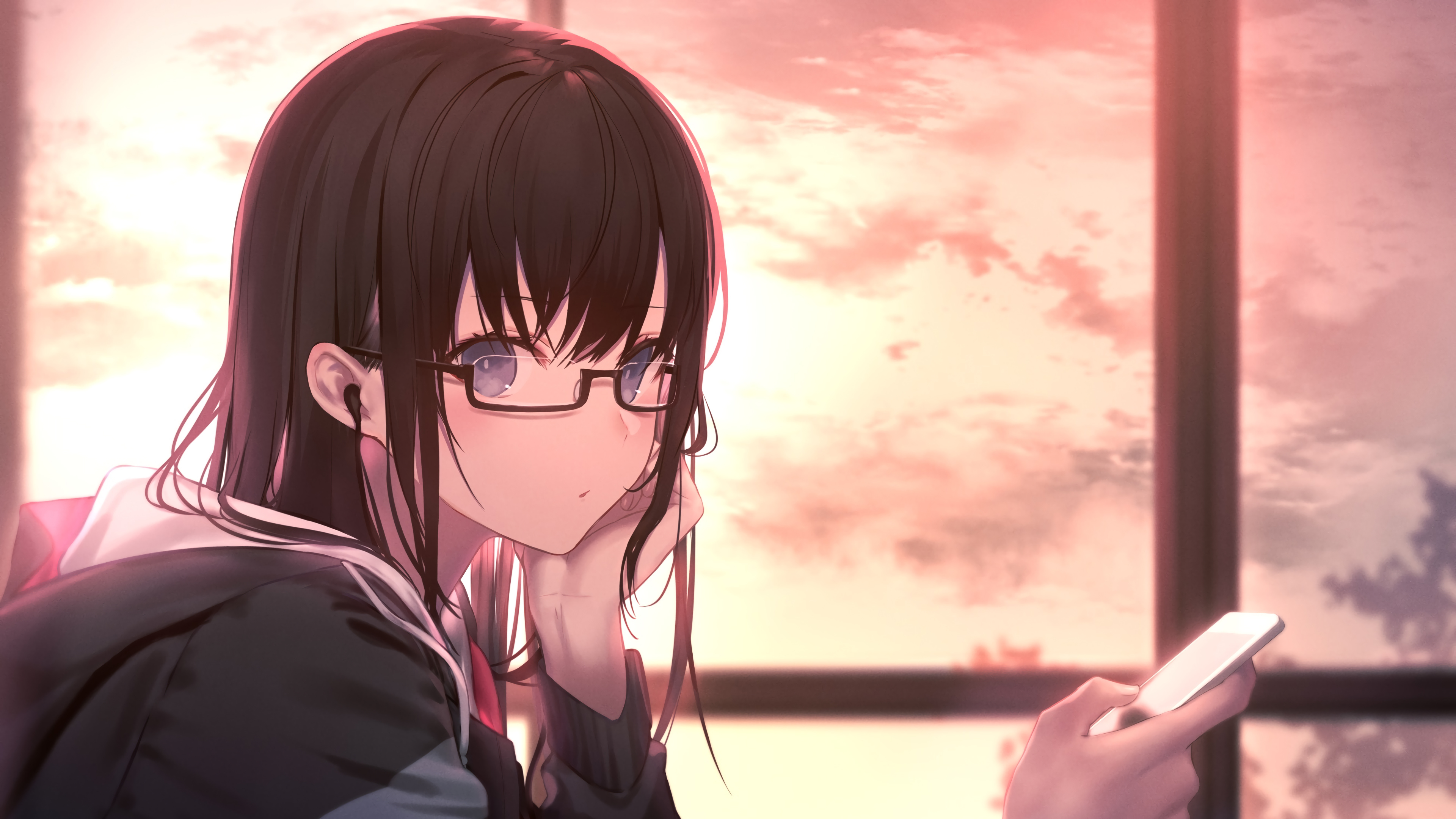 Fondos de pantalla Anime Chica de Gafas con Uniforme de Estudiante