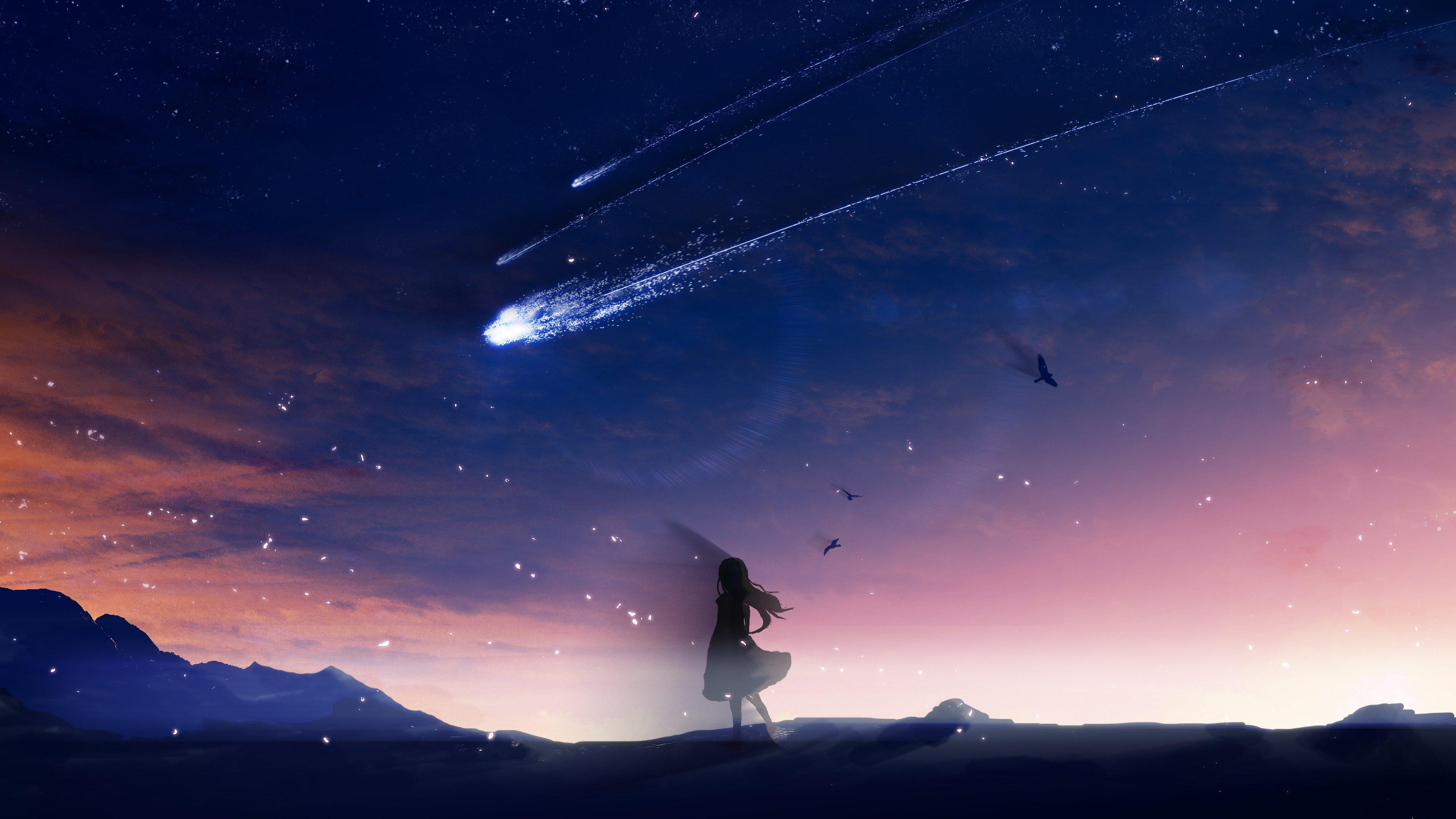 Fondos de pantalla Anime cometa en cielo anocheciendo