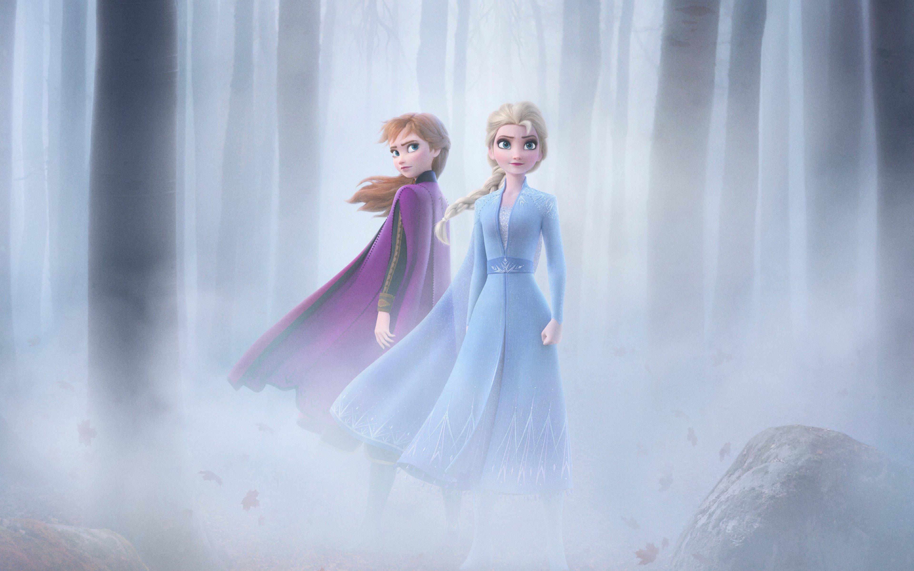 Wallpaper Anna and Elsa from Frozen 2