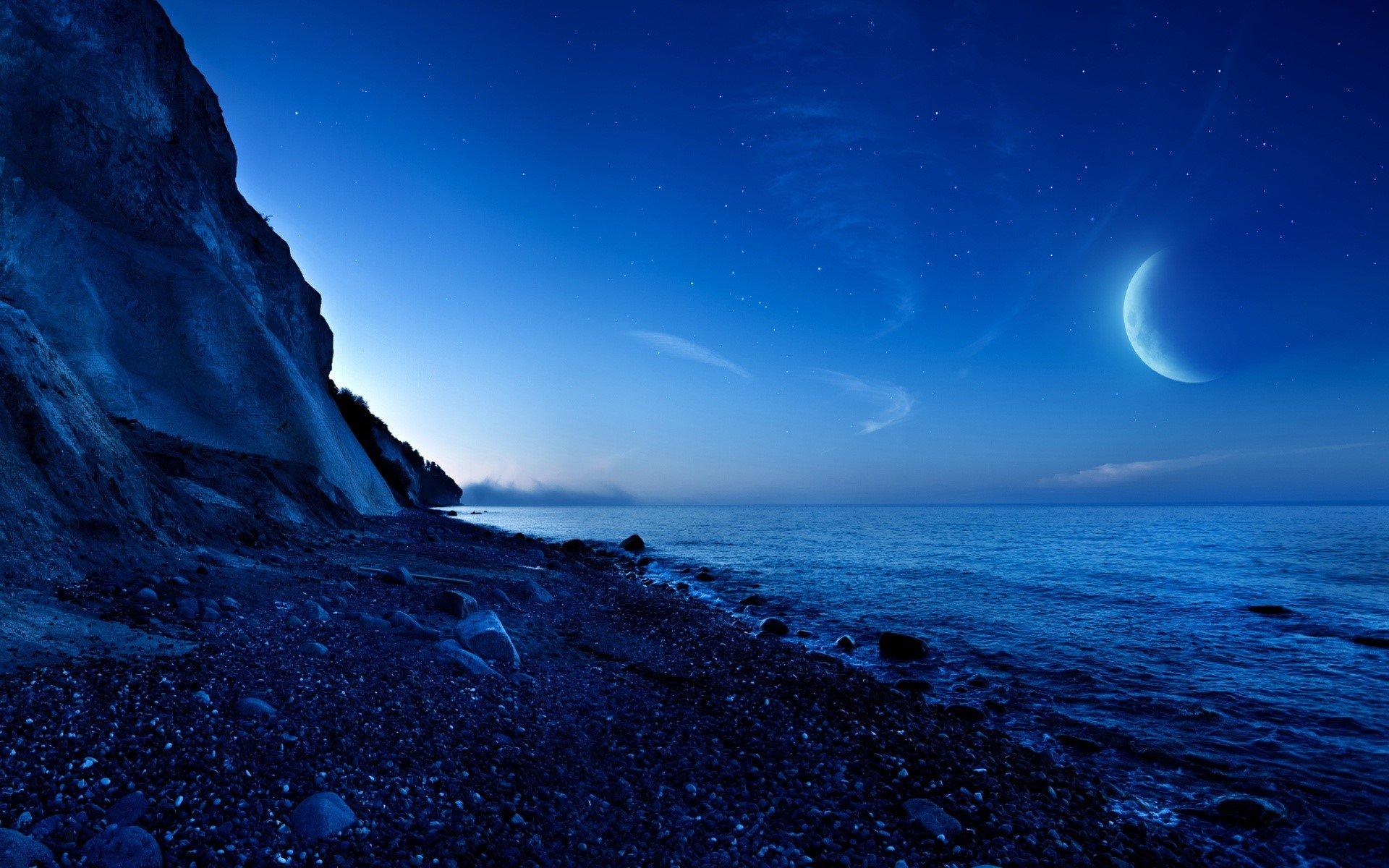 Fondo de pantalla de Anochecer en montaña y mar Imágenes