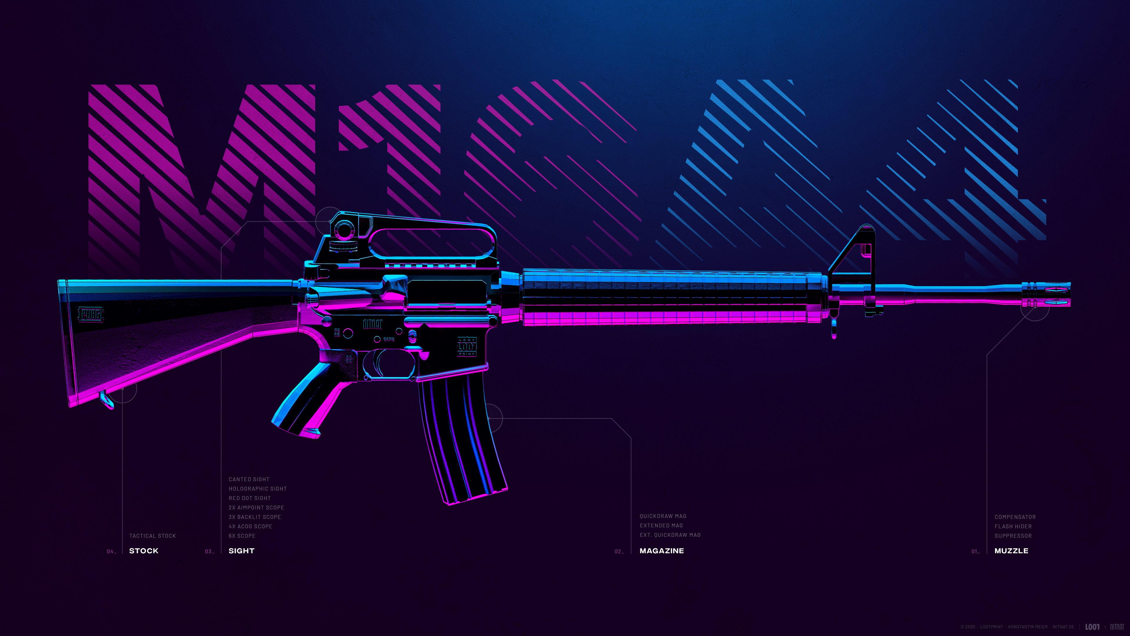 Fondos de pantalla Arma M16A4 de PUBG