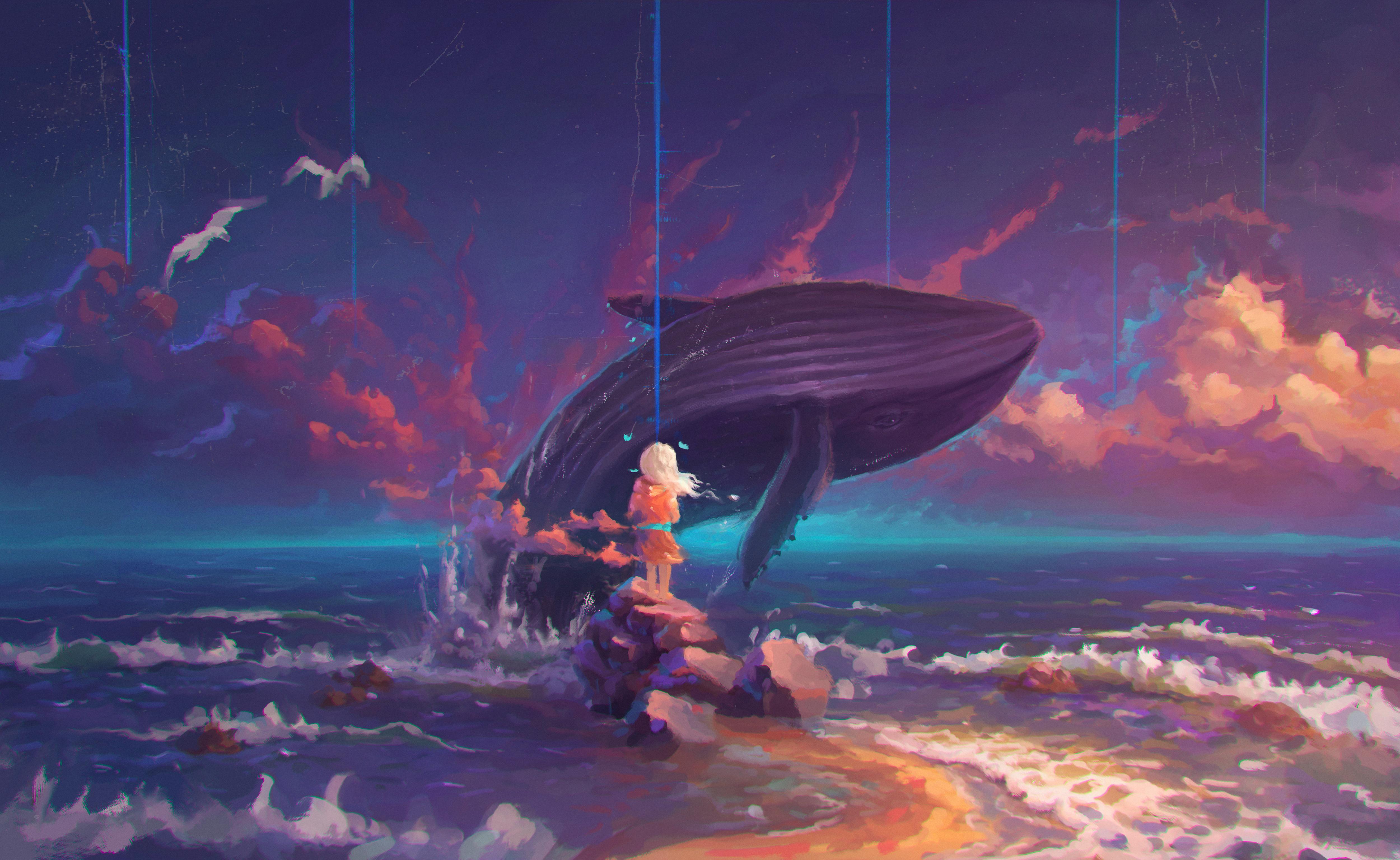Fondos de pantalla Arte de ballena saltando en el oceano