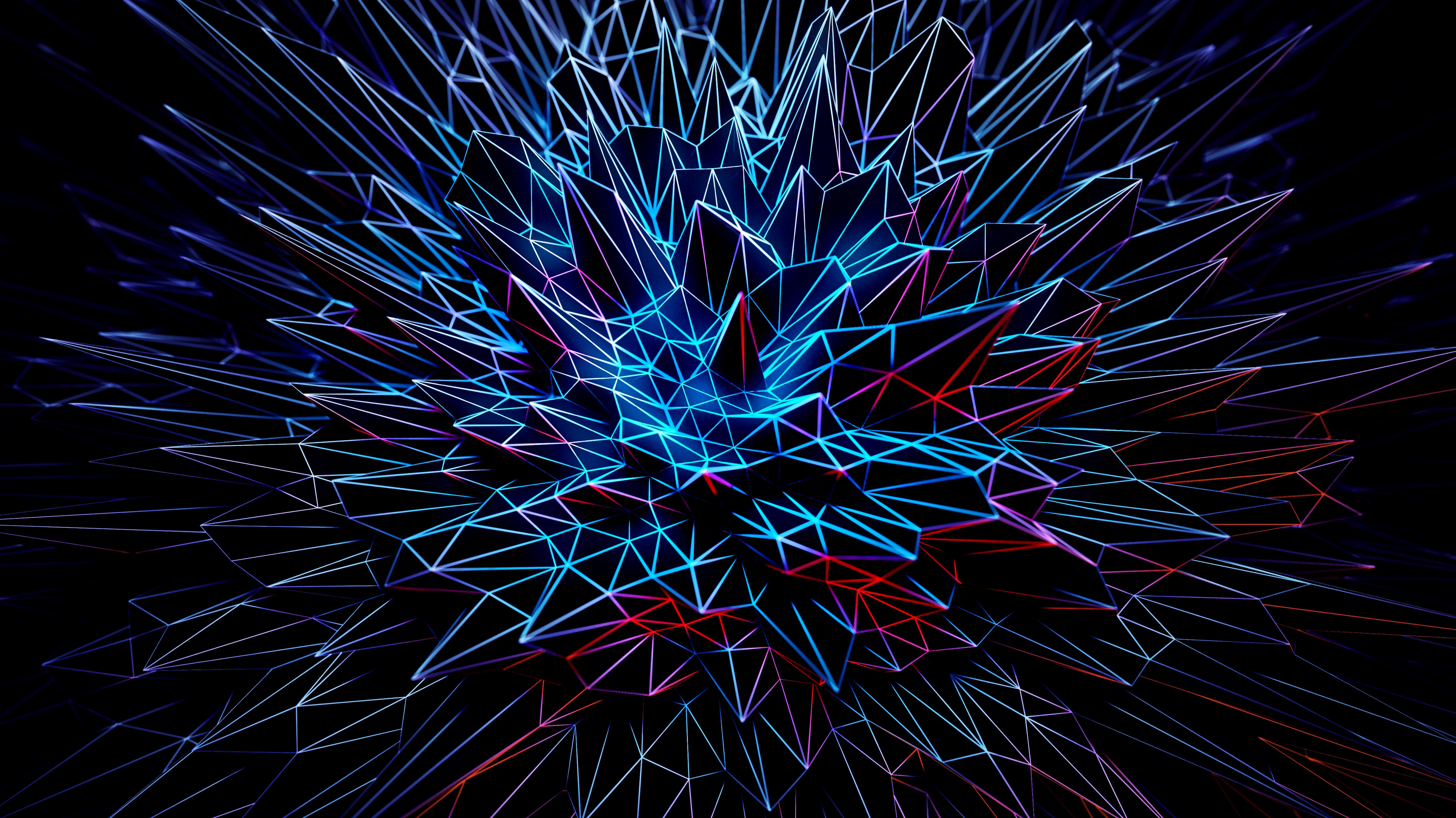 Fondos de pantalla Arte de picos poligonales Neón 3D