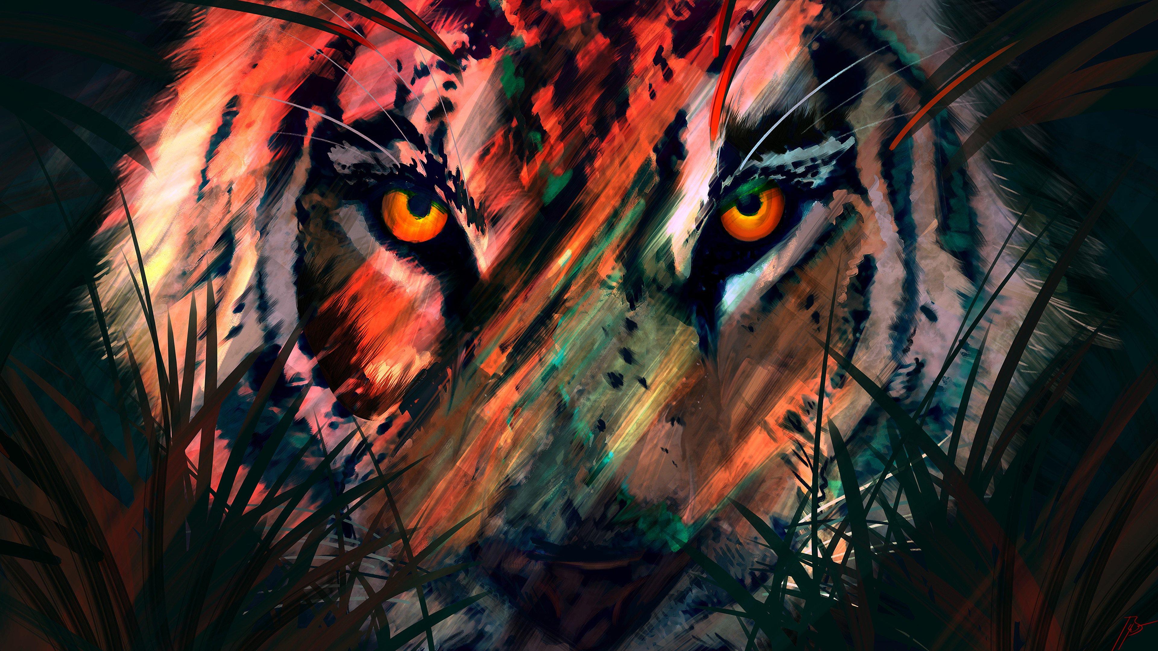 Fondos de pantalla Arte digital de tigre