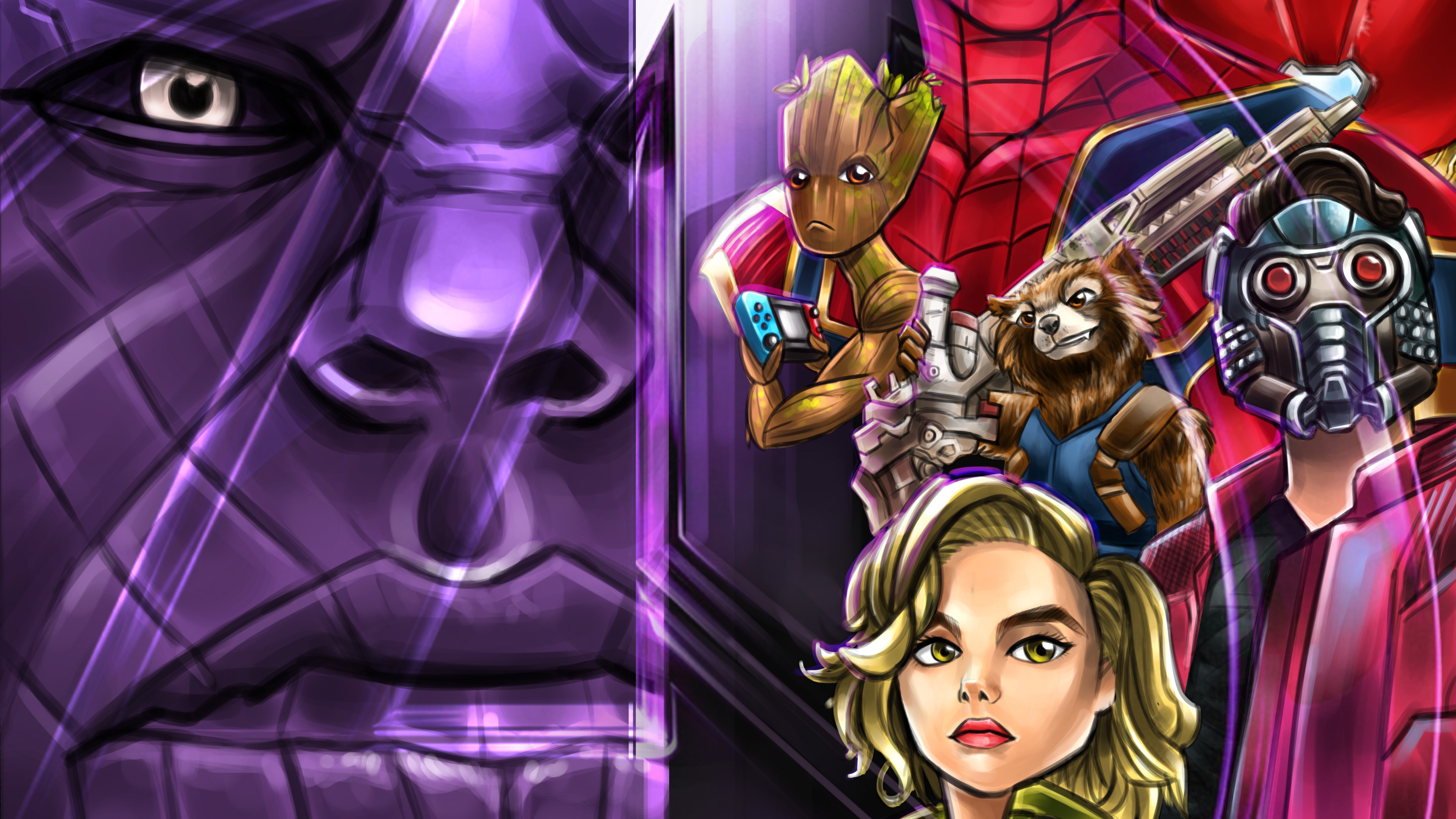 Wallpaper Artwork of characters of Guardians of the Galaxy in Avengers