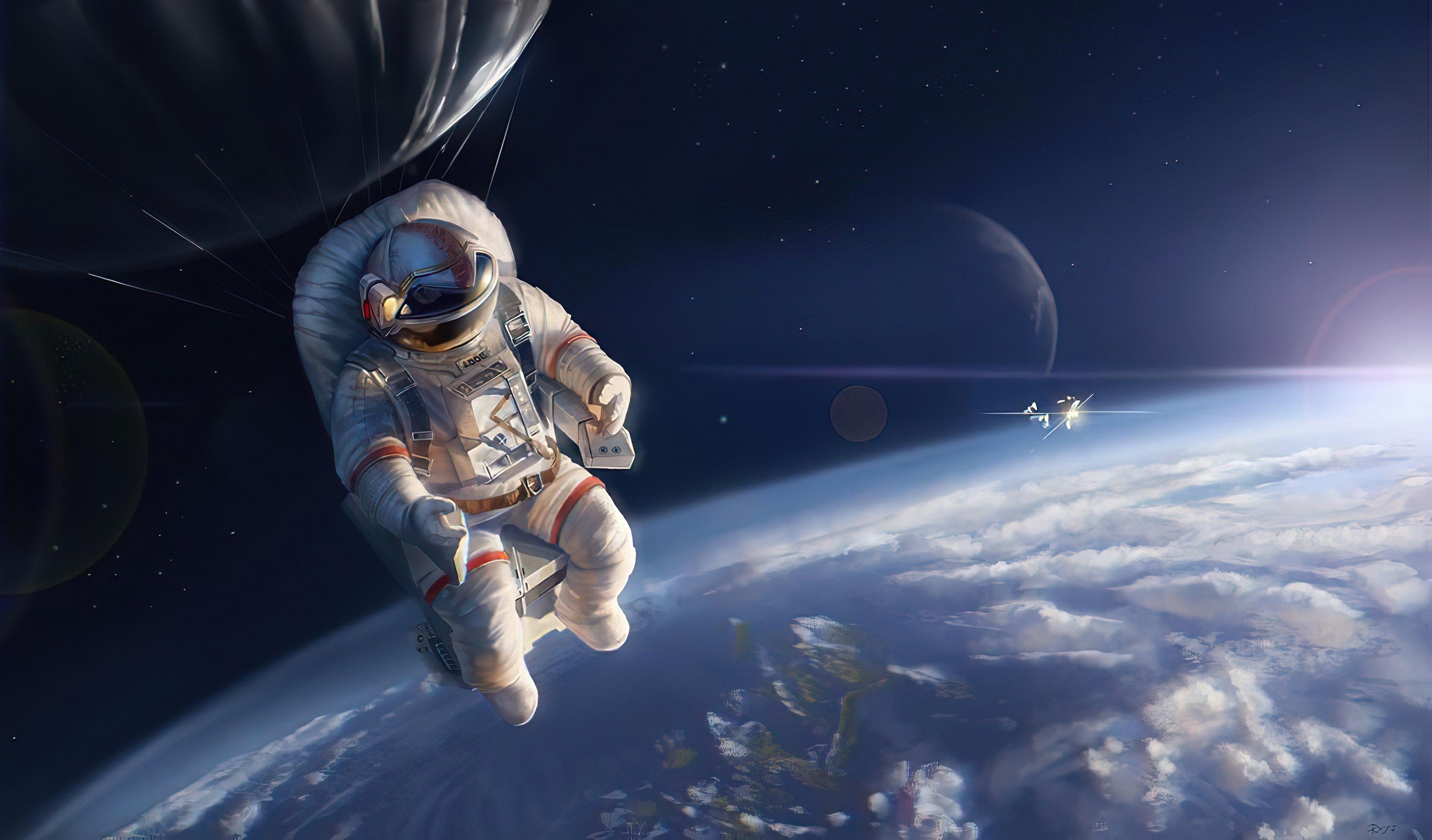 Fondos de pantalla Astroauta arriba de la tierra