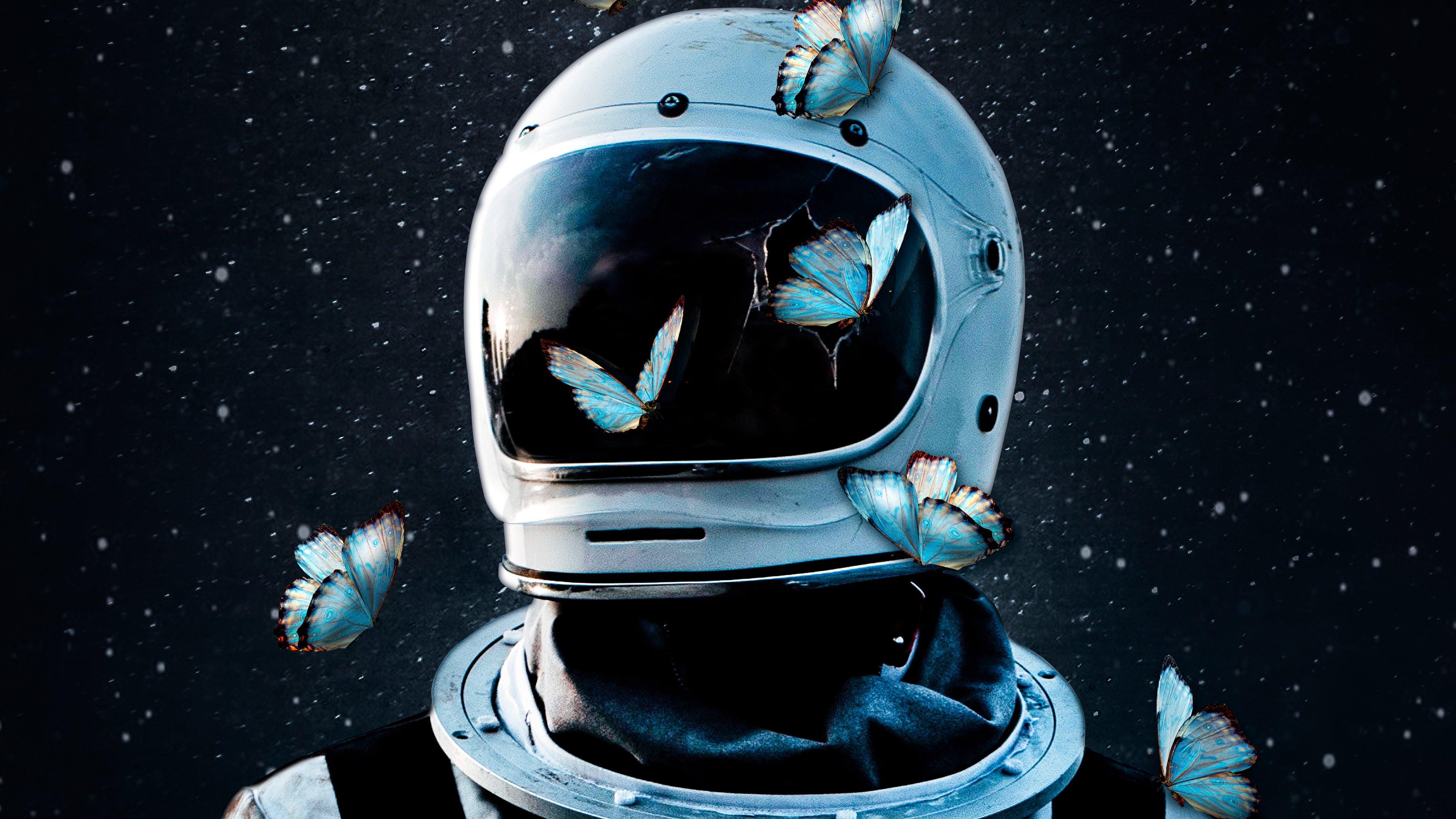 Wallpaper Astronaut with butterflies