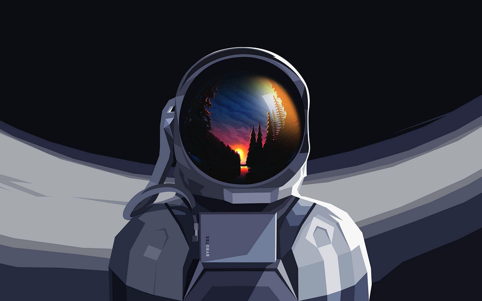 Fondos de pantalla Astronauta con paisaje reflejado en casco