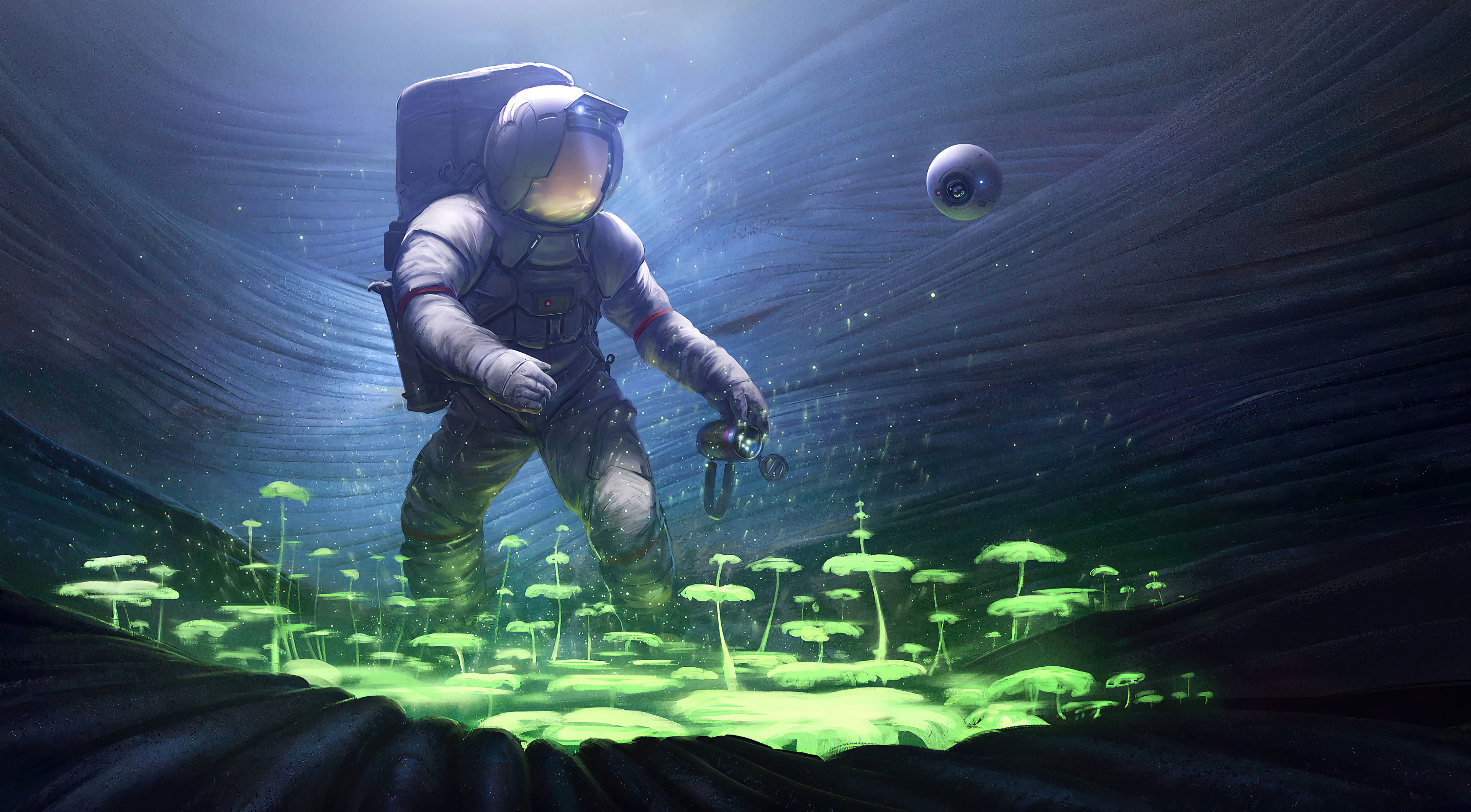 Fondos de pantalla Astronauta de ciencia ficción plantando arboles bajo el agua