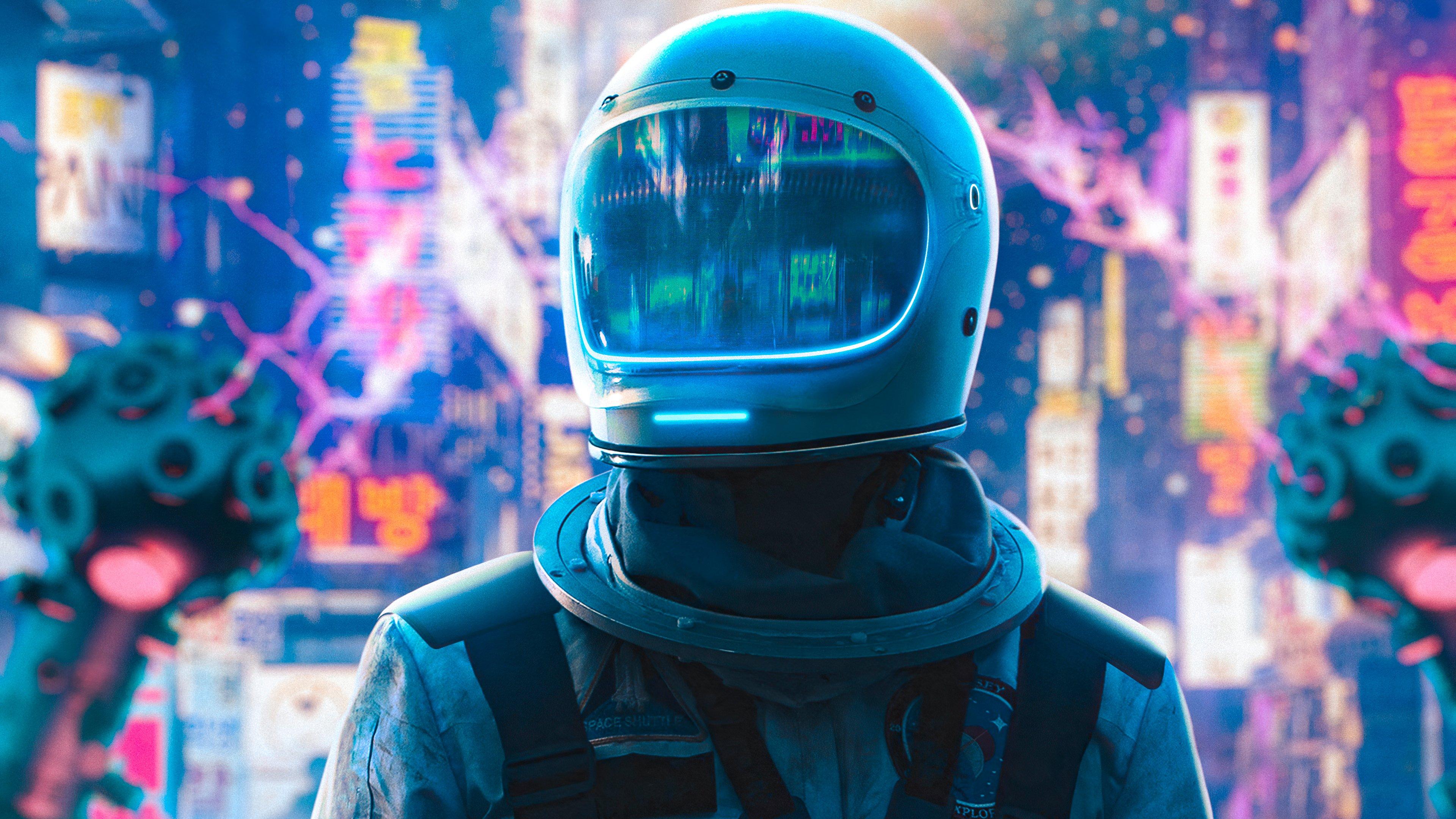 Fondos de pantalla Astronauta en ciudad neon