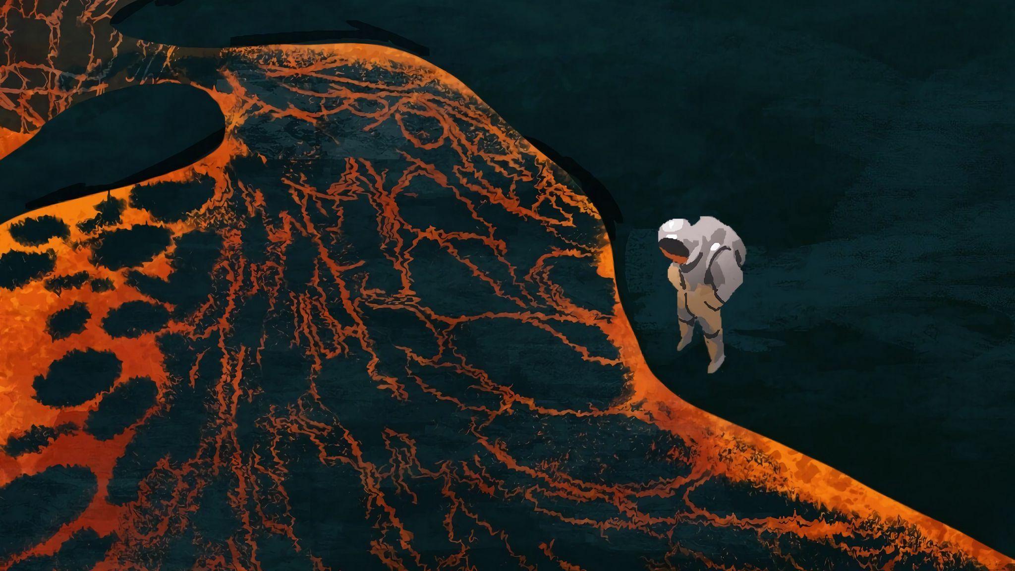 Fondos de pantalla Astronauta en tierra con lava
