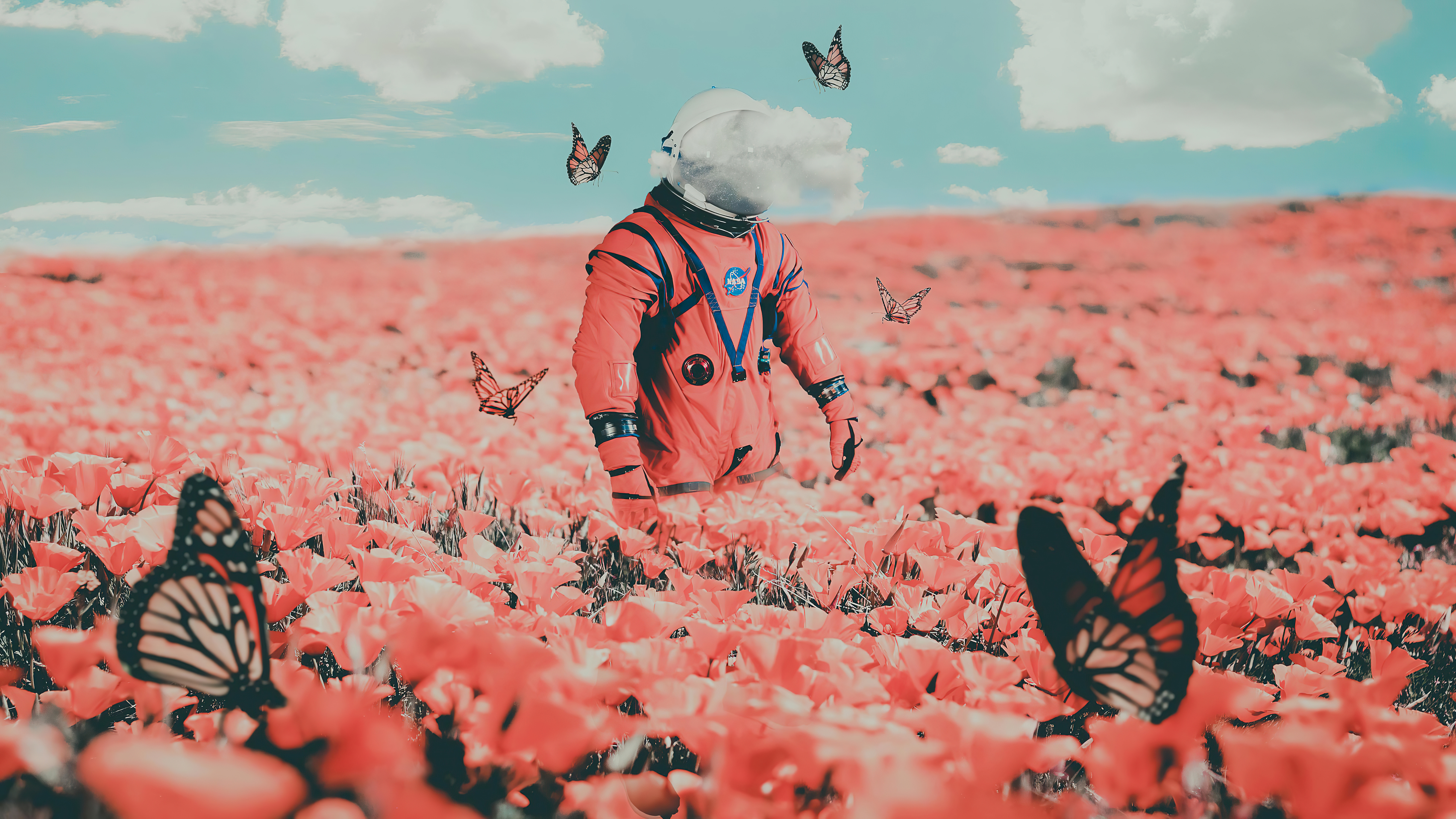 Fondos de pantalla Astronauta entre flores y mariposas