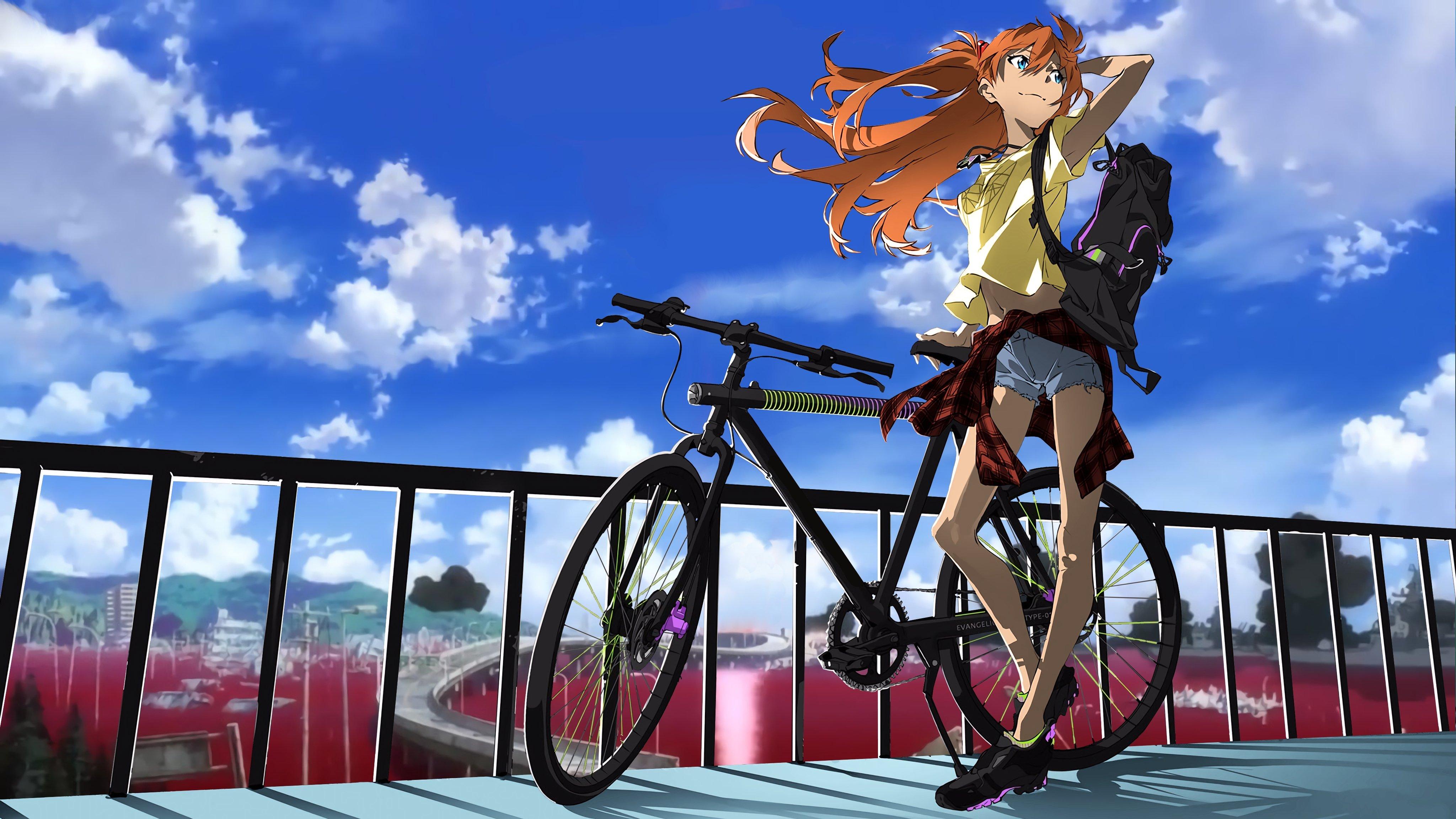 Fondos de pantalla Anime Asuka Langley en bicicleta