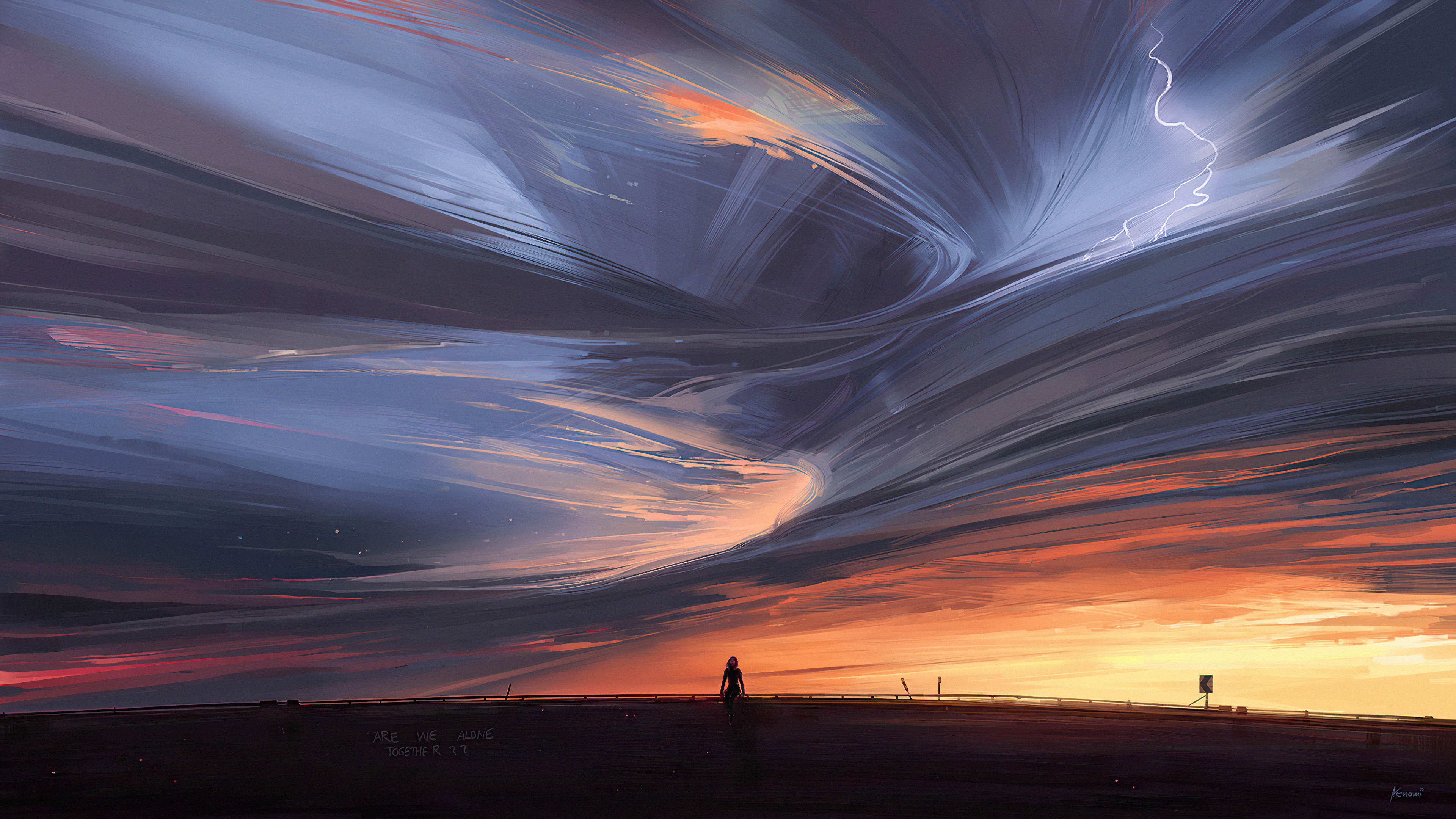 Wallpaper Sunset with clouds in swirl and thunder