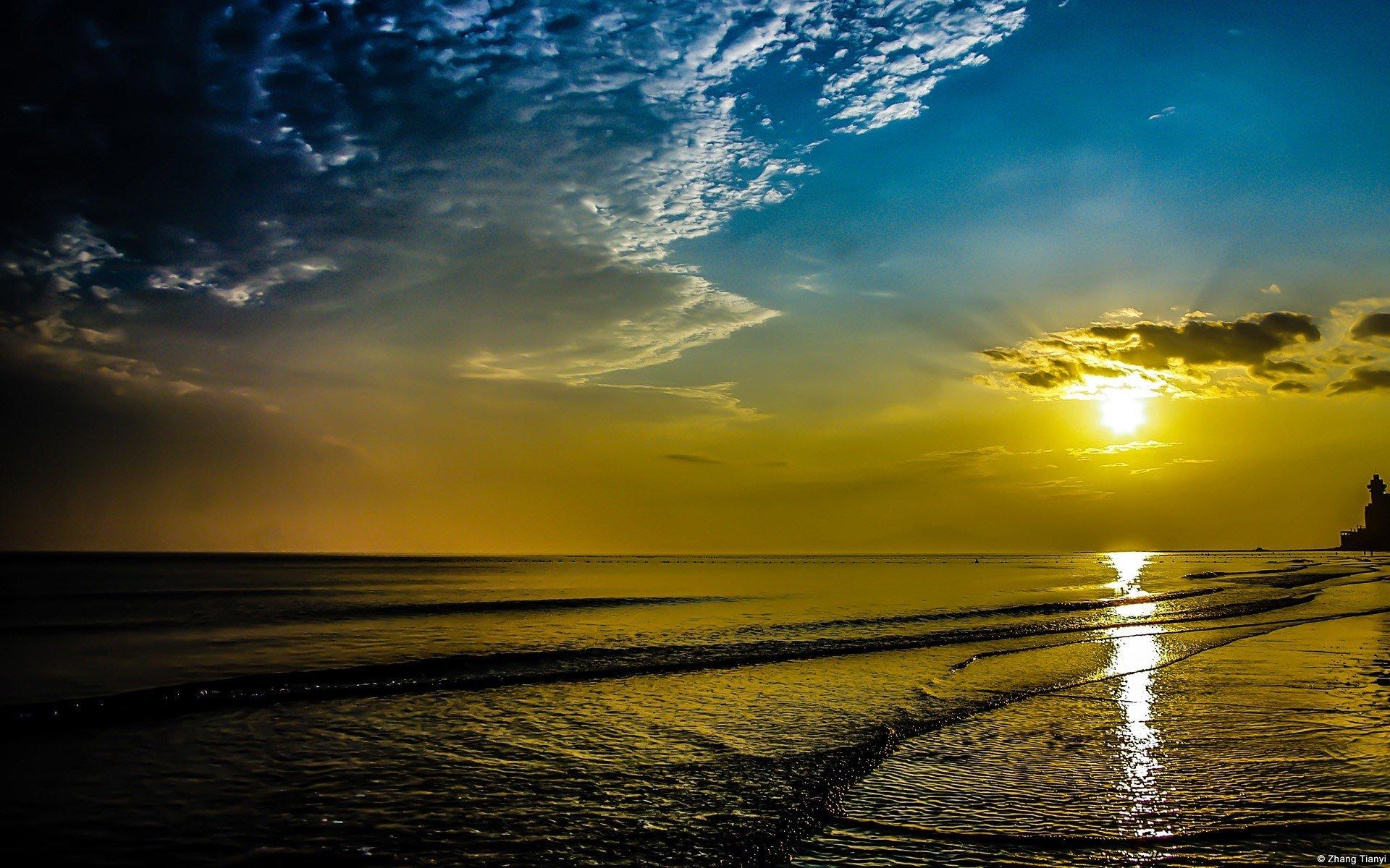 Wallpaper Sunset on the sea