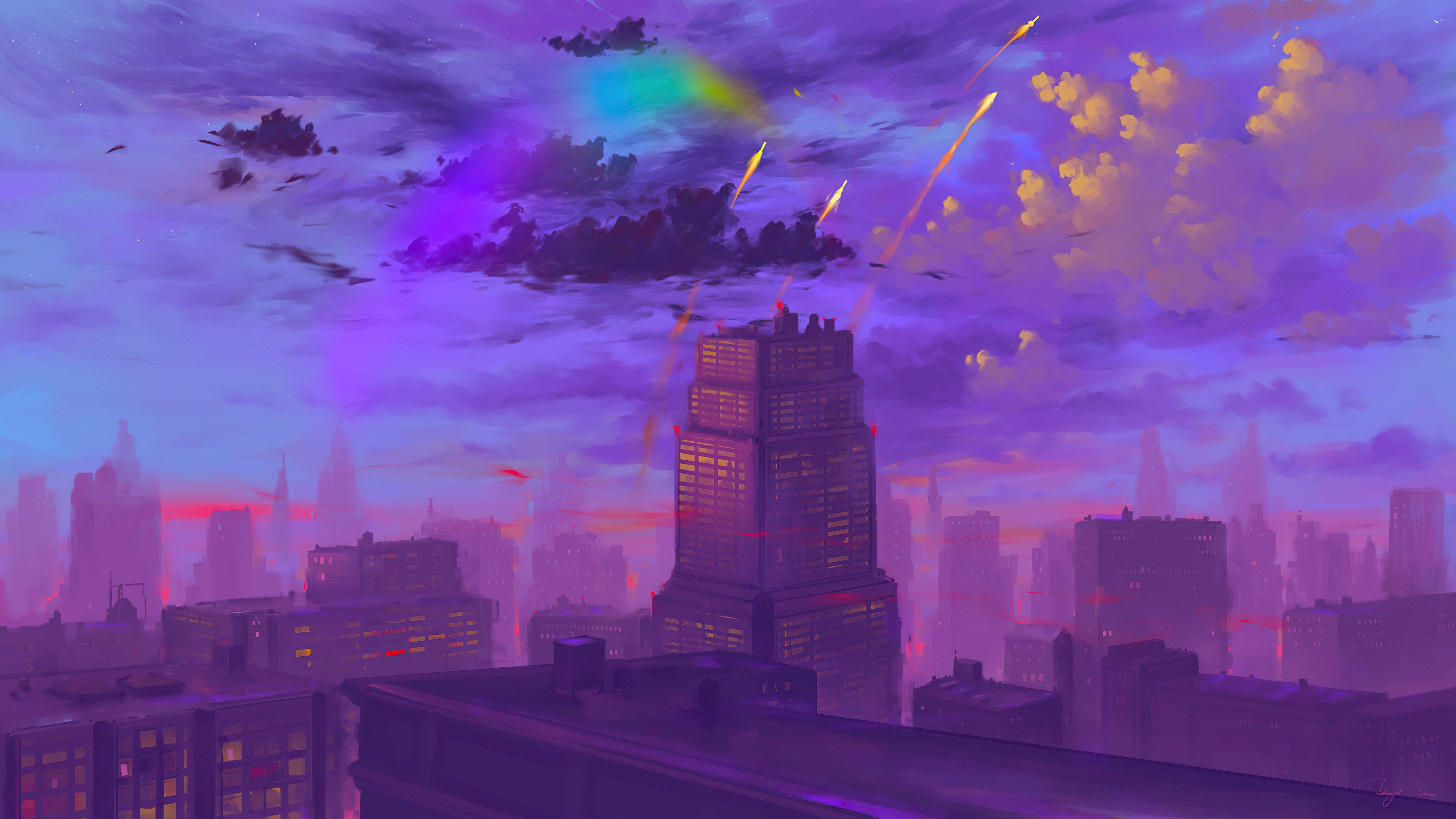 Wallpaper Sunset in the city Illustration