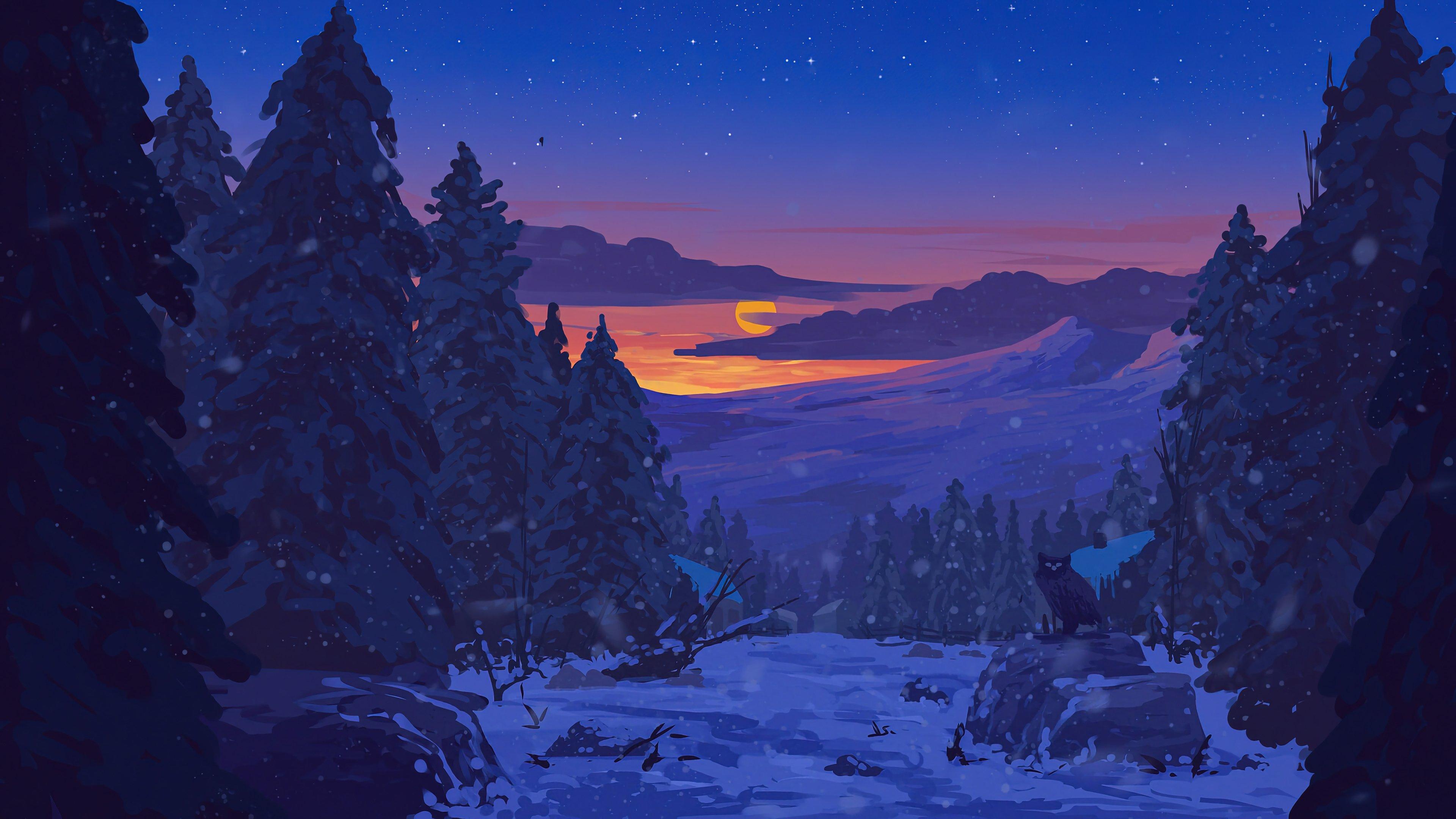 Fondos de pantalla Atardecer en paisaje nevado Arte Digital
