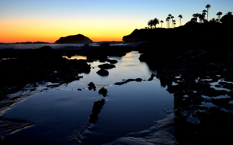 Wallpaper Sunset in a lagoon