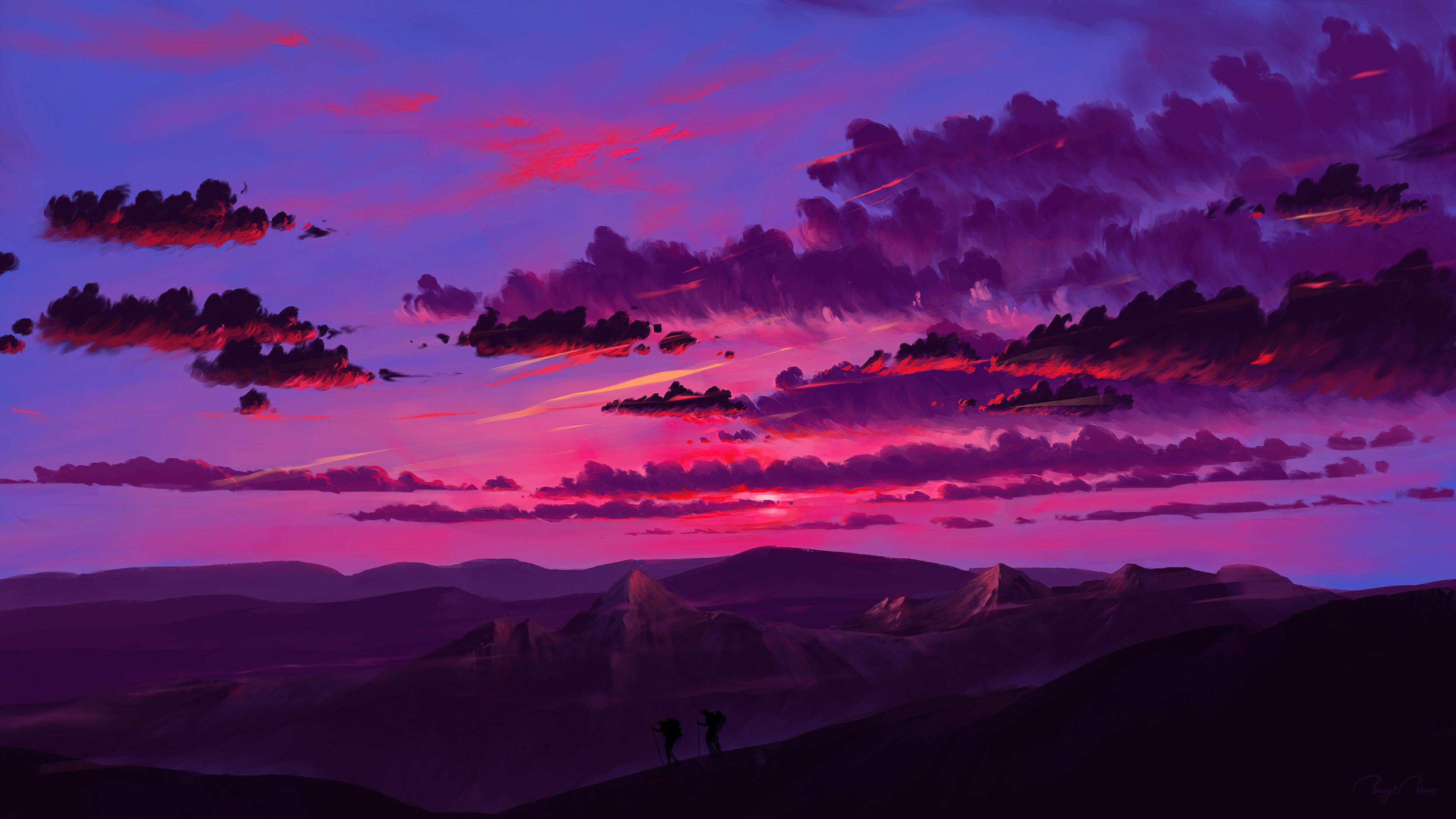 Fondos de pantalla Atardecer rosado Arte Digital