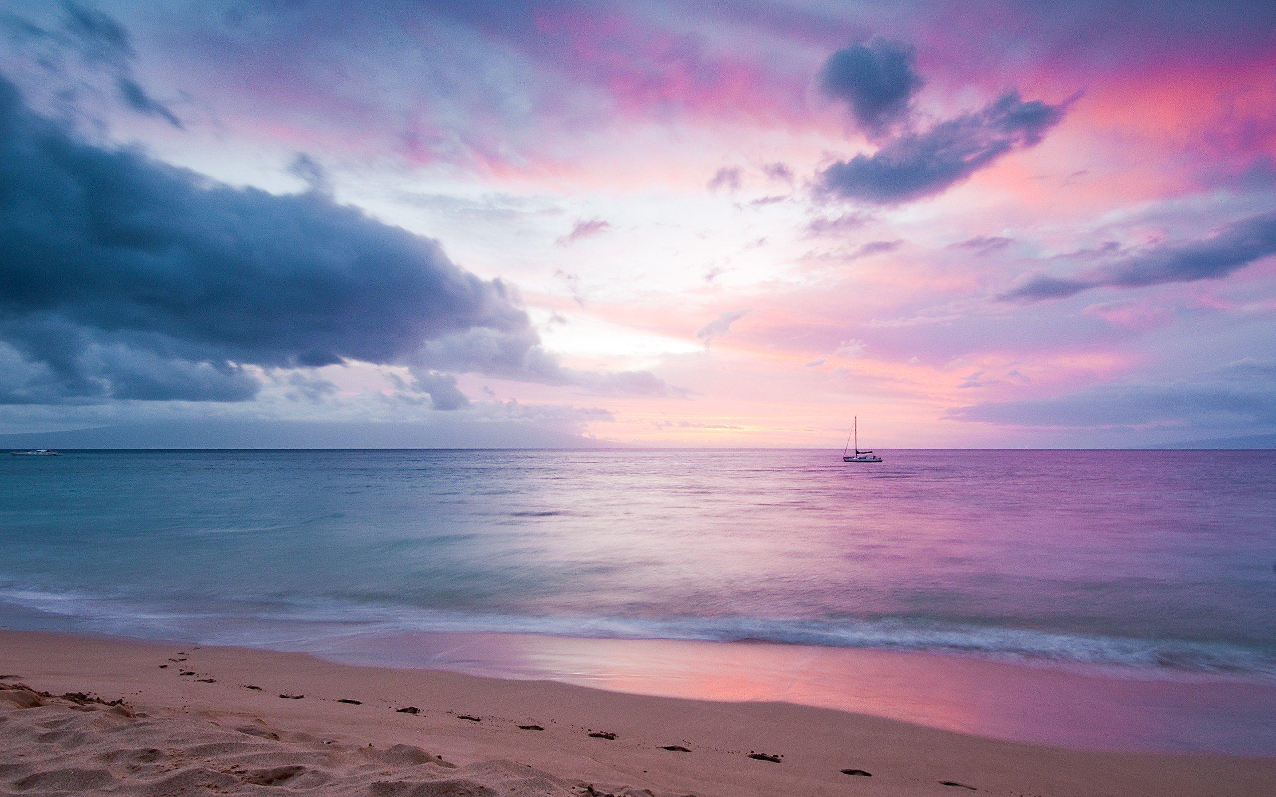 Fondos de pantalla Atardecer rosado en la playa