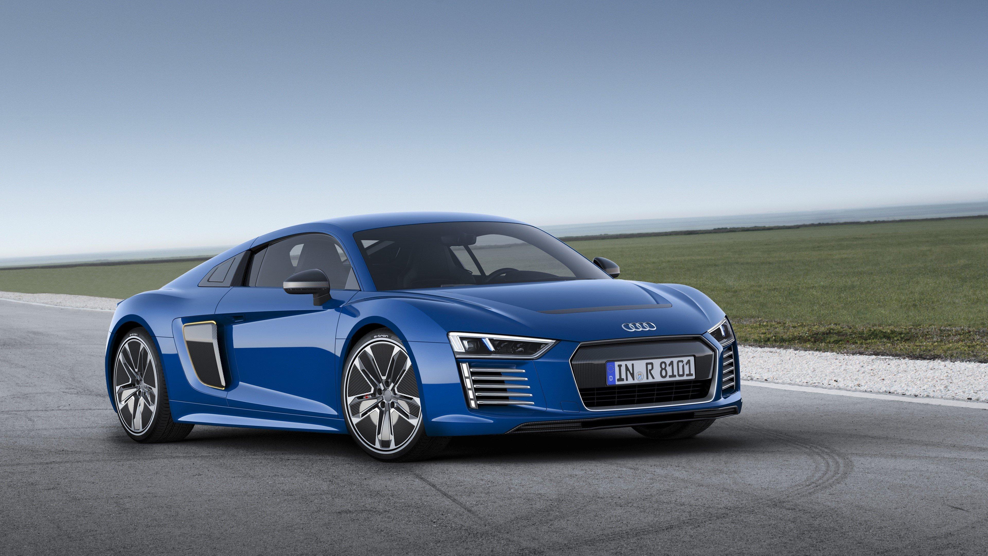 Fondos de pantalla Audi R8 E Tron Azul de lado