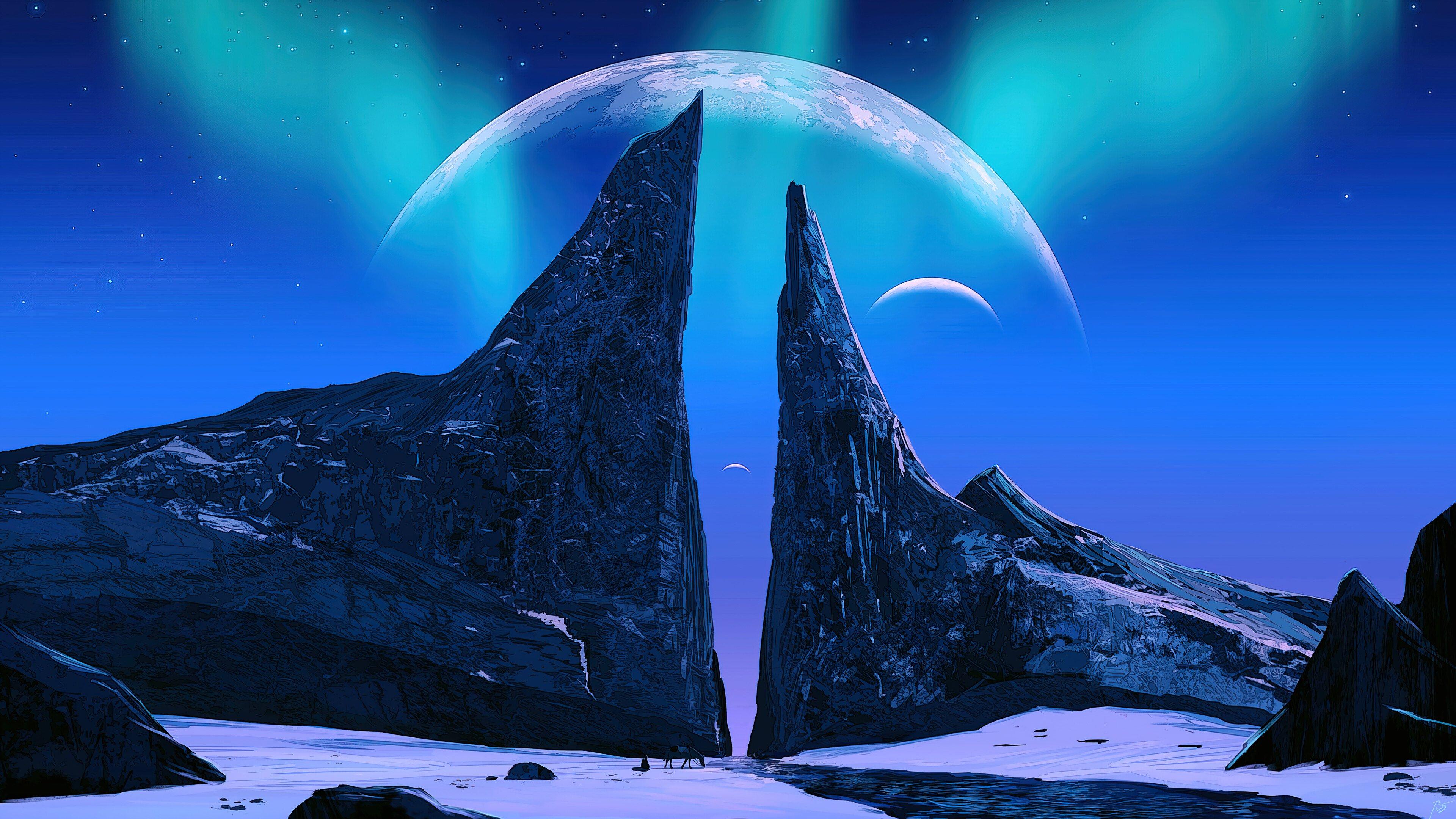 Fondos de pantalla Aurora Polar con montañas y la luna de fondo