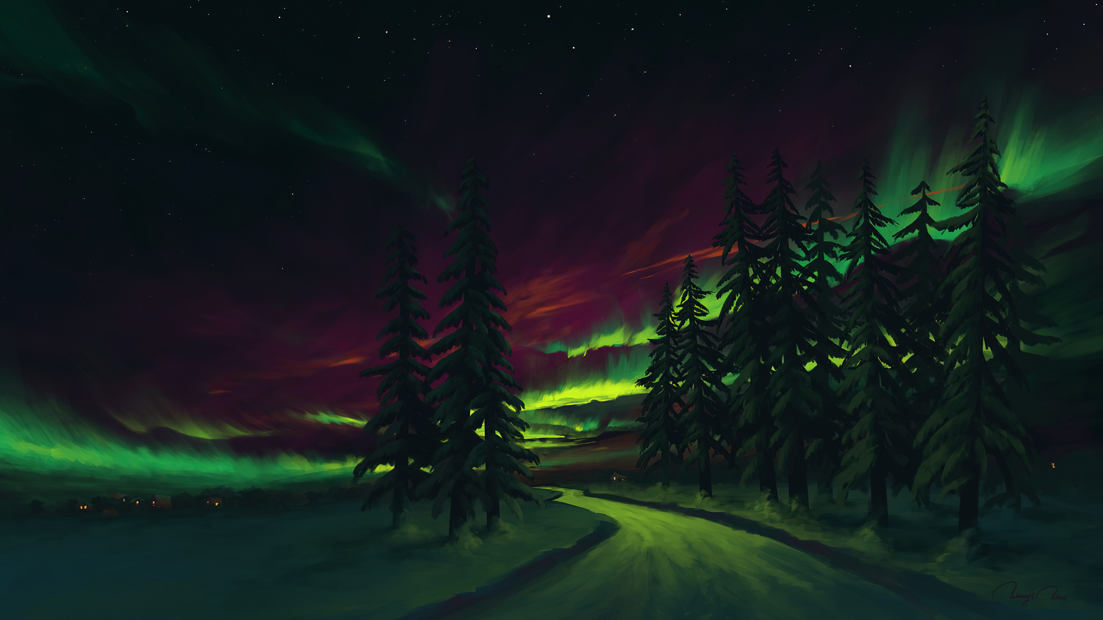 Fondos de pantalla Aurora Polar en el bosque