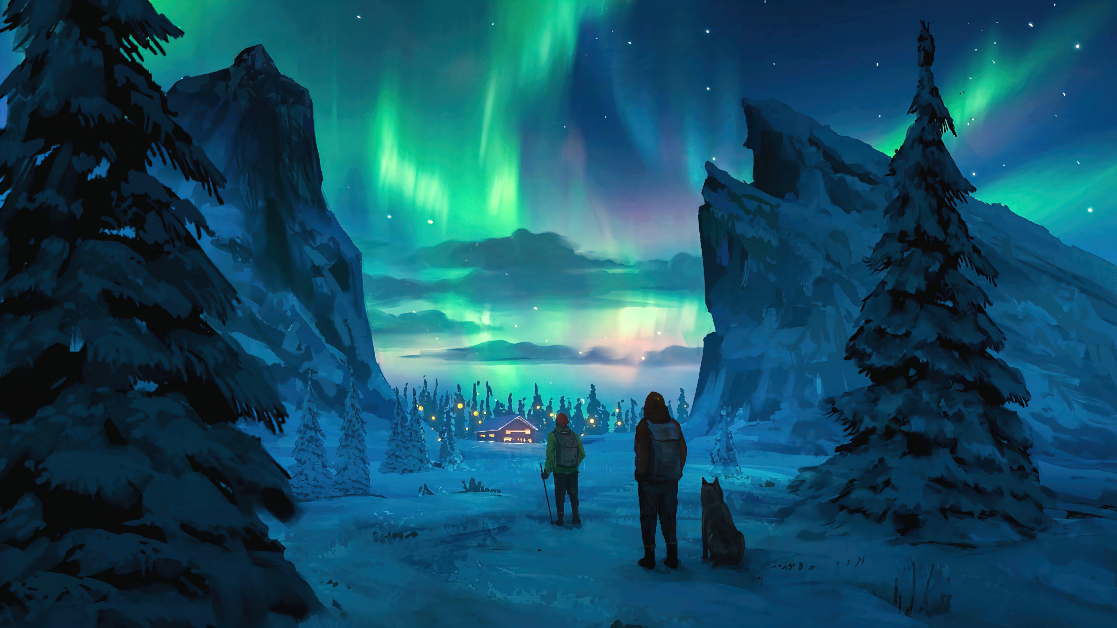 Fondos de pantalla Aurora polar en el cielo nocturno Arte Digital
