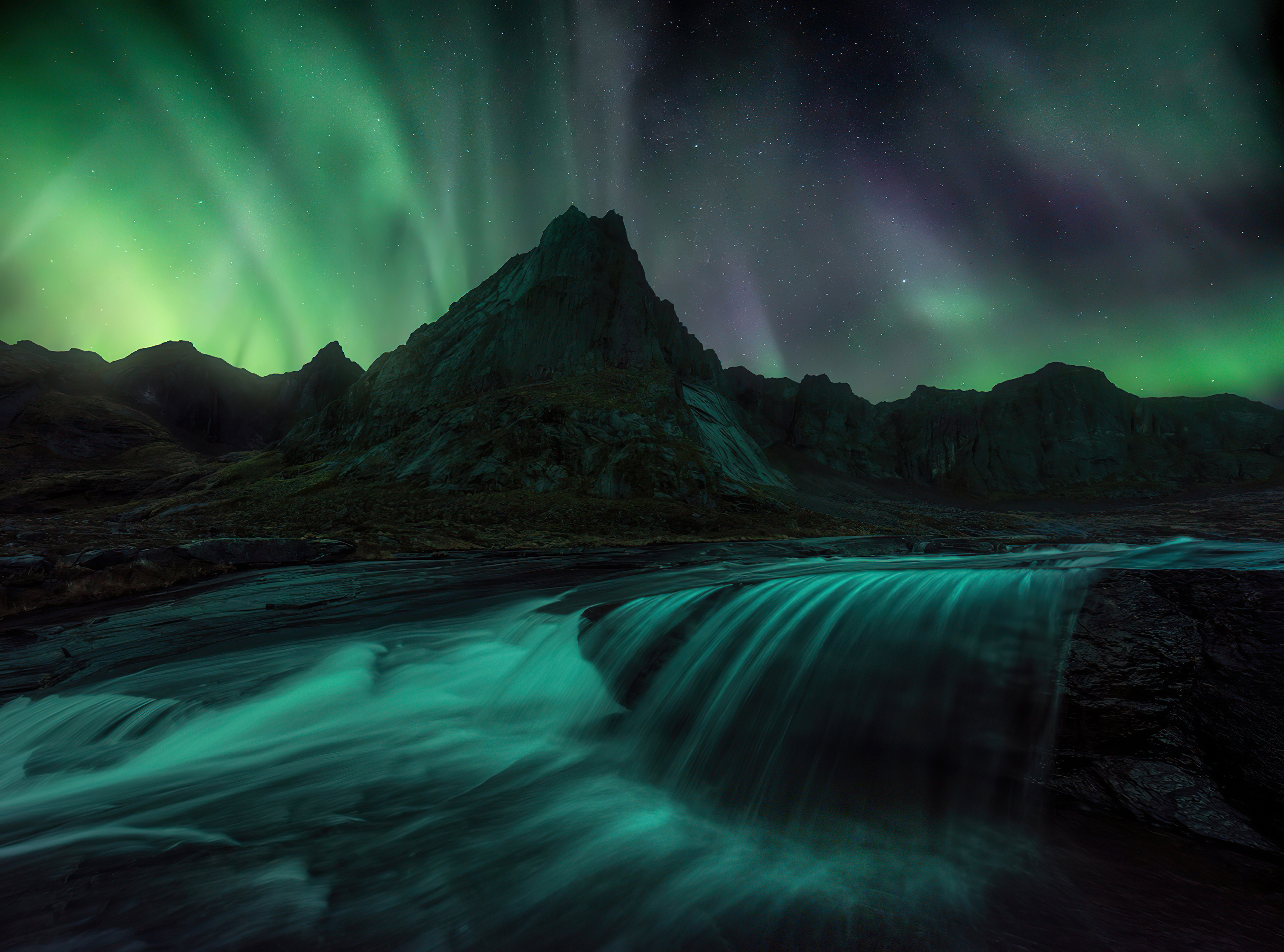 Fondos de pantalla Aurora polar en Islas Lofoten