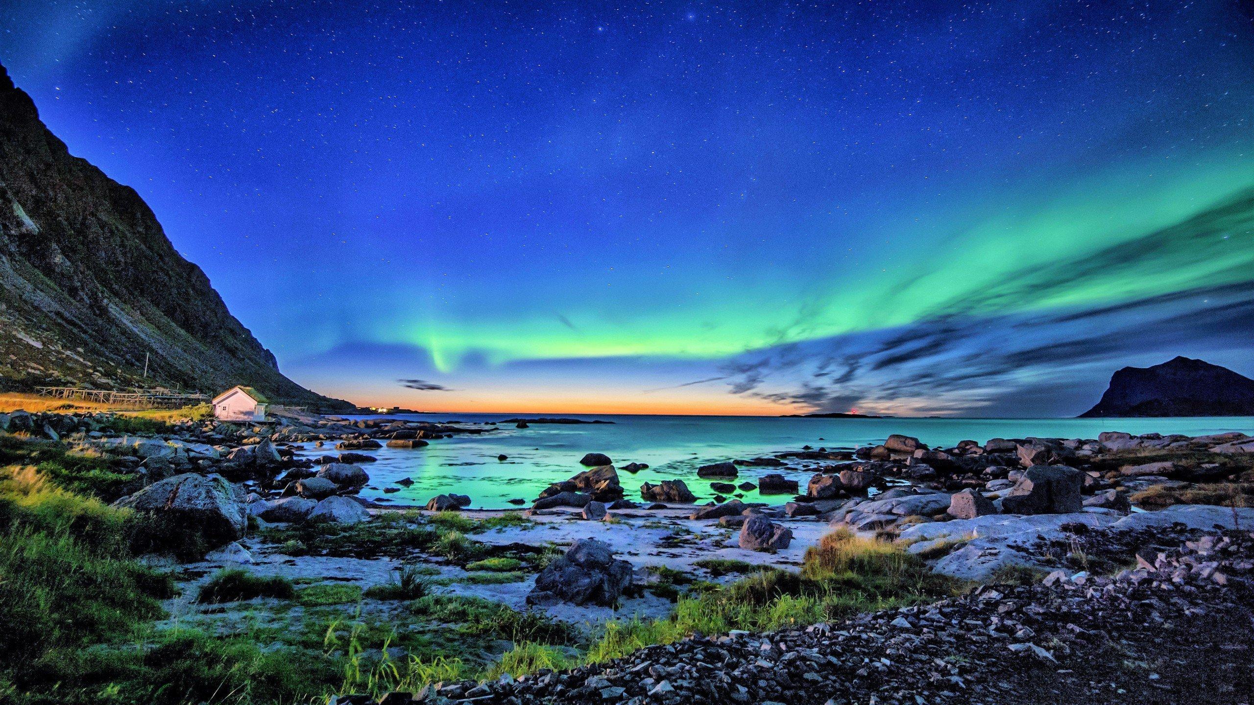 Fondos de pantalla Aurora polar en la costa