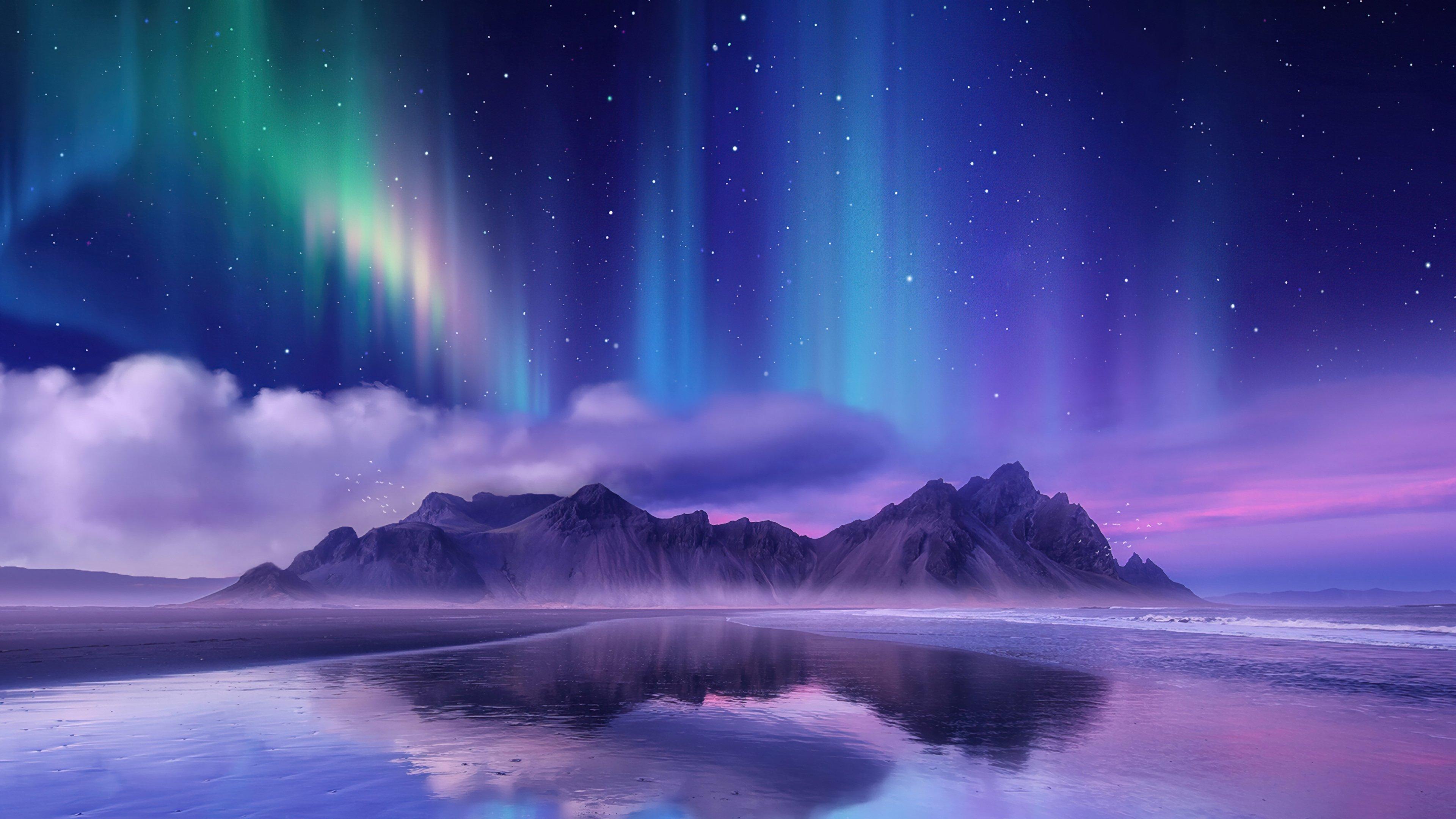Wallpaper Aurora Borealis in mountains Digital Art