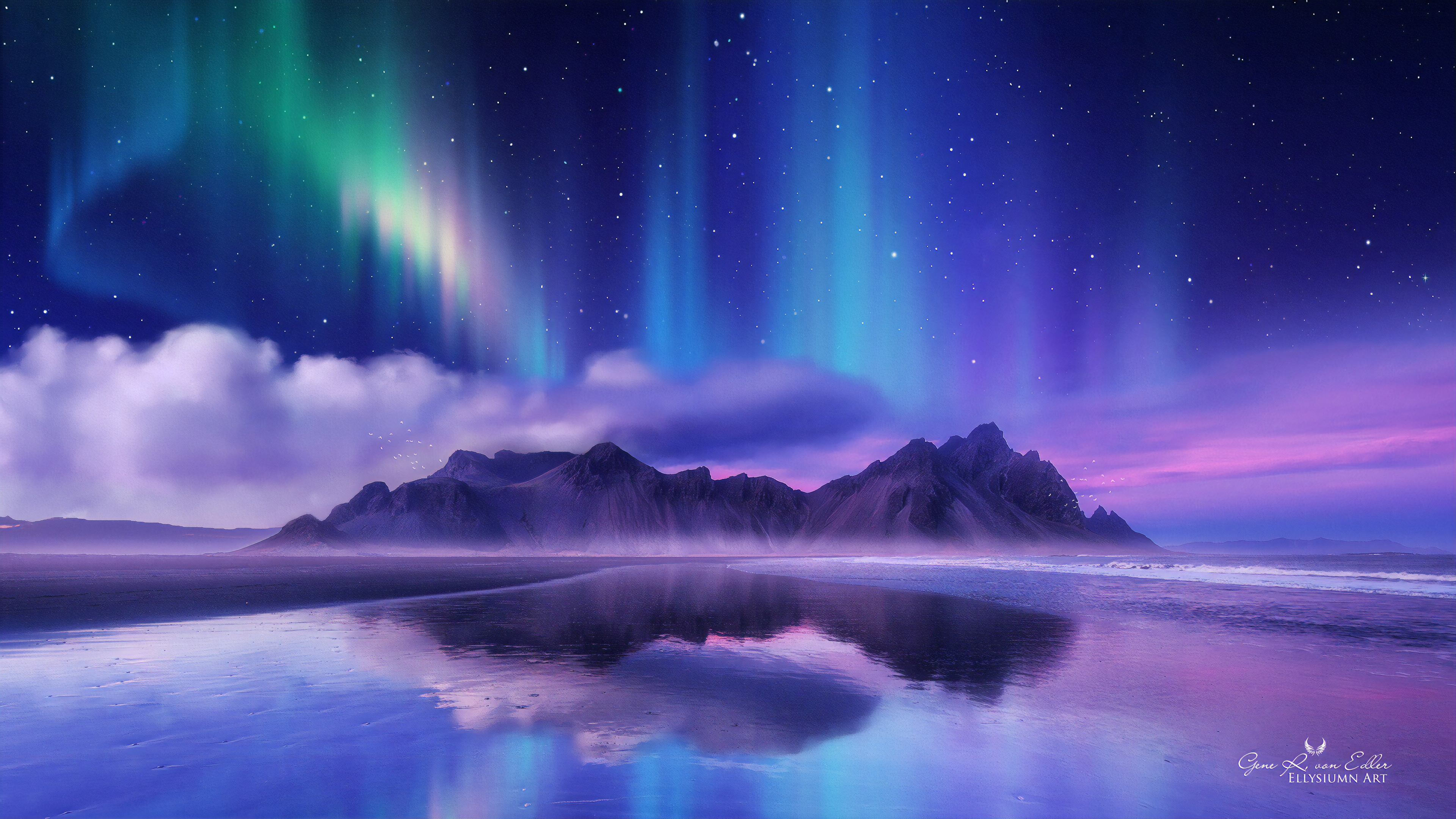 Wallpaper Northern lights reflected in lake in mountains