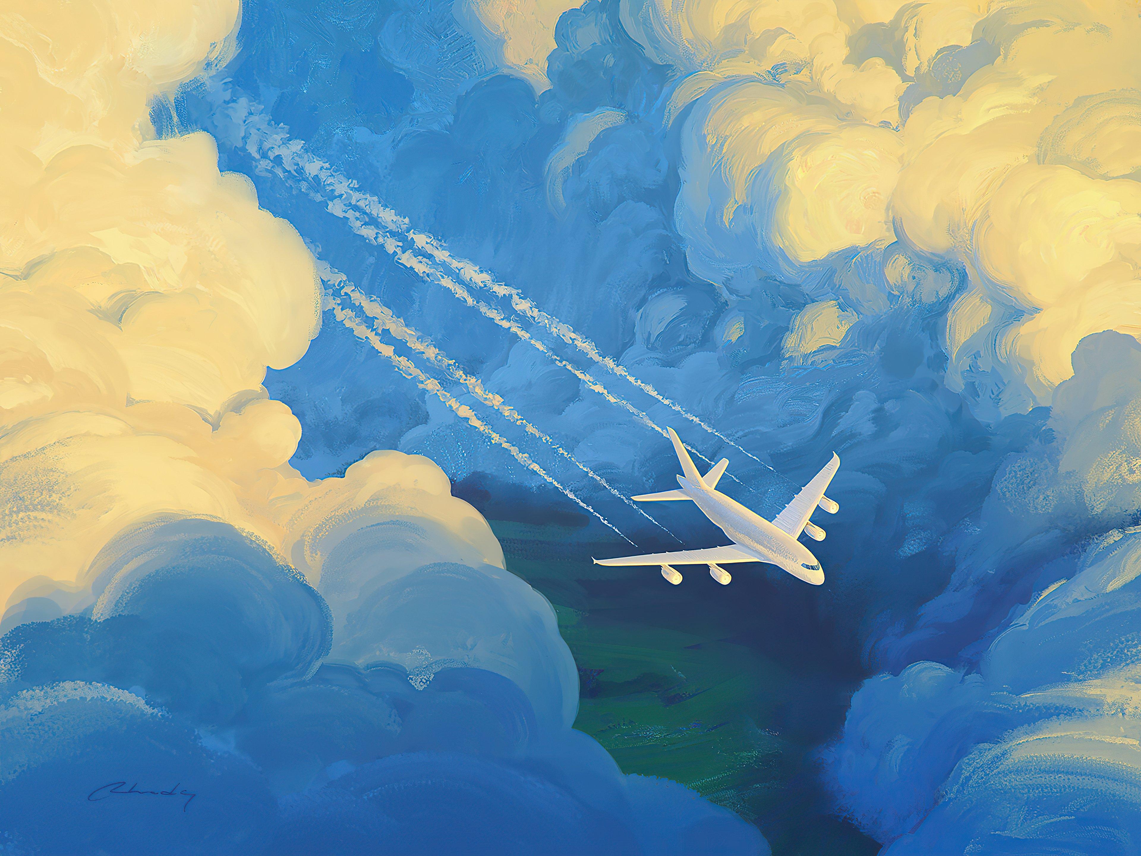 Fondos de pantalla Avión en las nubes Artwork