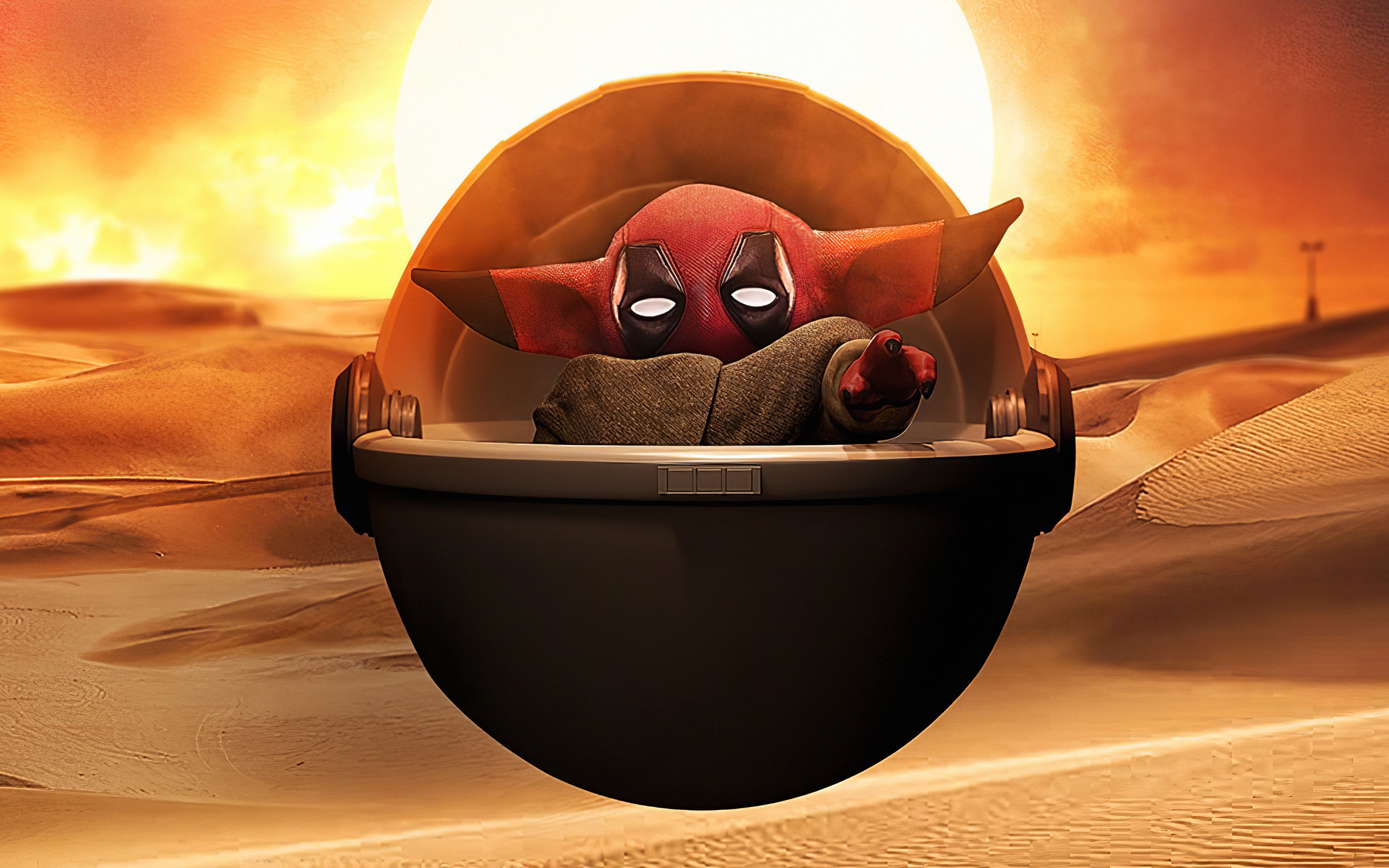 Wallpaper Baby Yoda as Deadpool