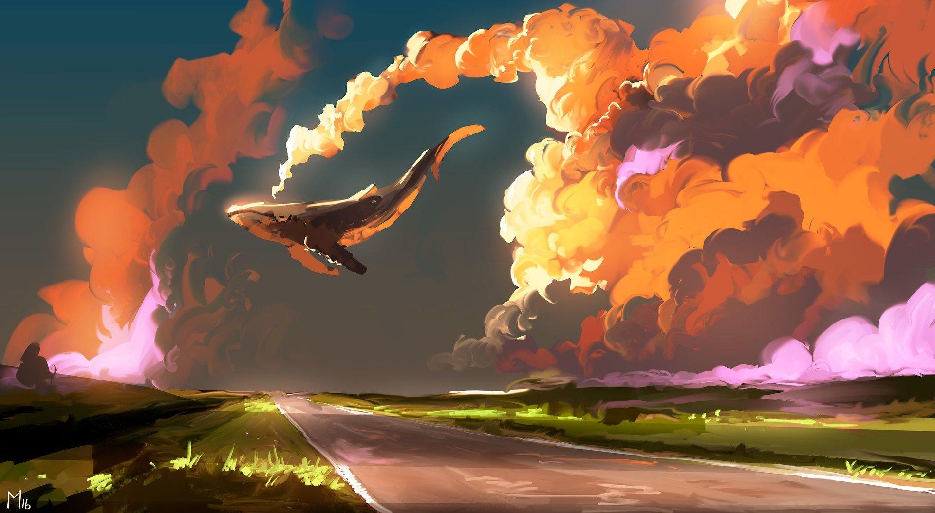 Fondos de pantalla Ballena Fantasía Arte Digital