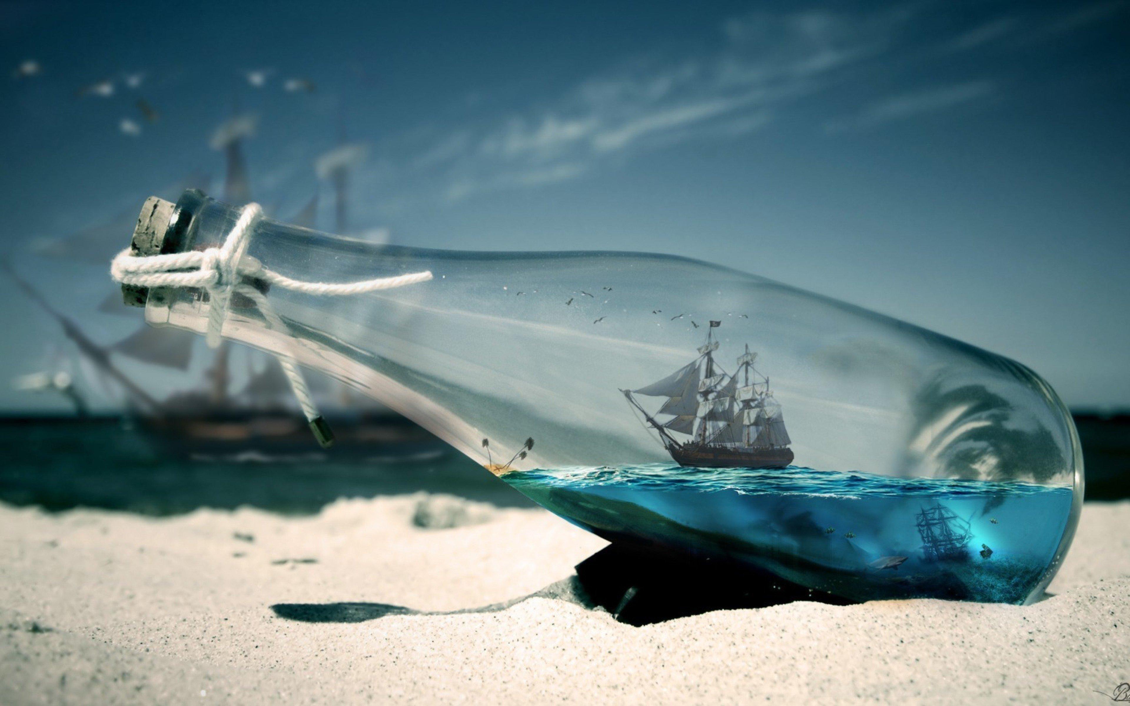 Wallpaper Ship in the sea inside a bottle
